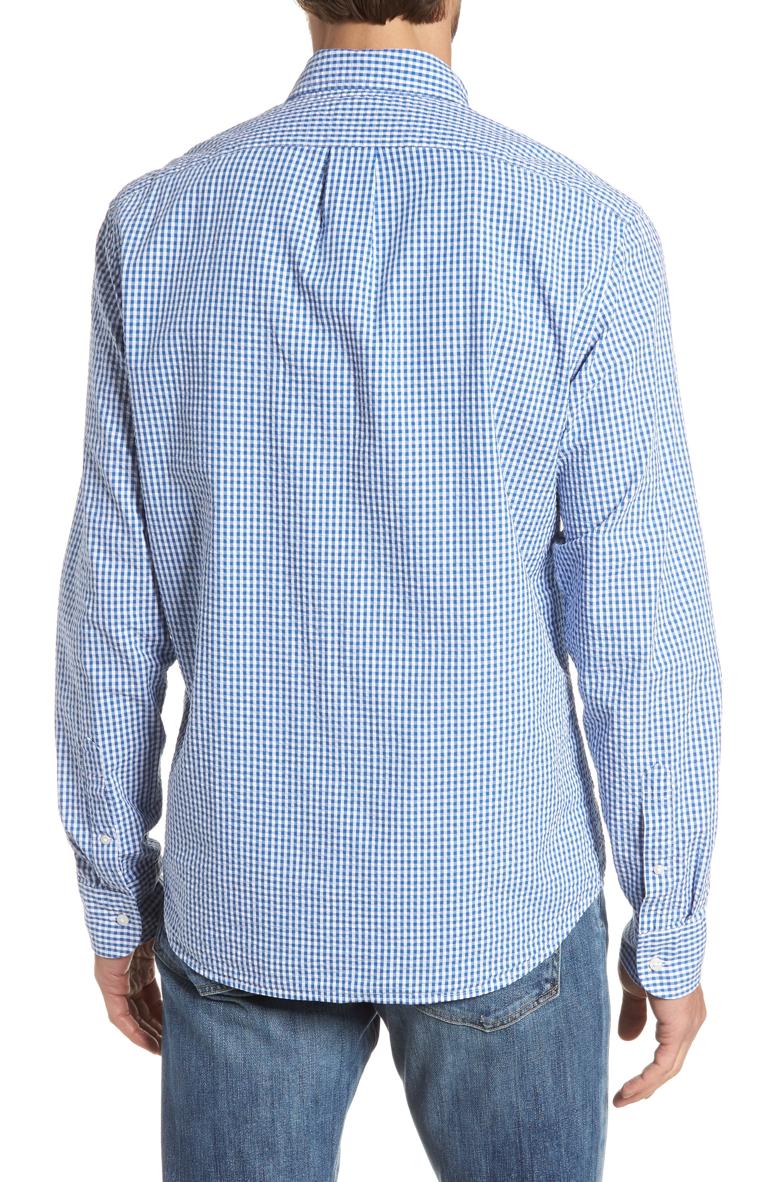 Slim Fit Gingham Seersucker Sport Shirt,                             Alternate thumbnail 3, color,                             Calm Lagoon