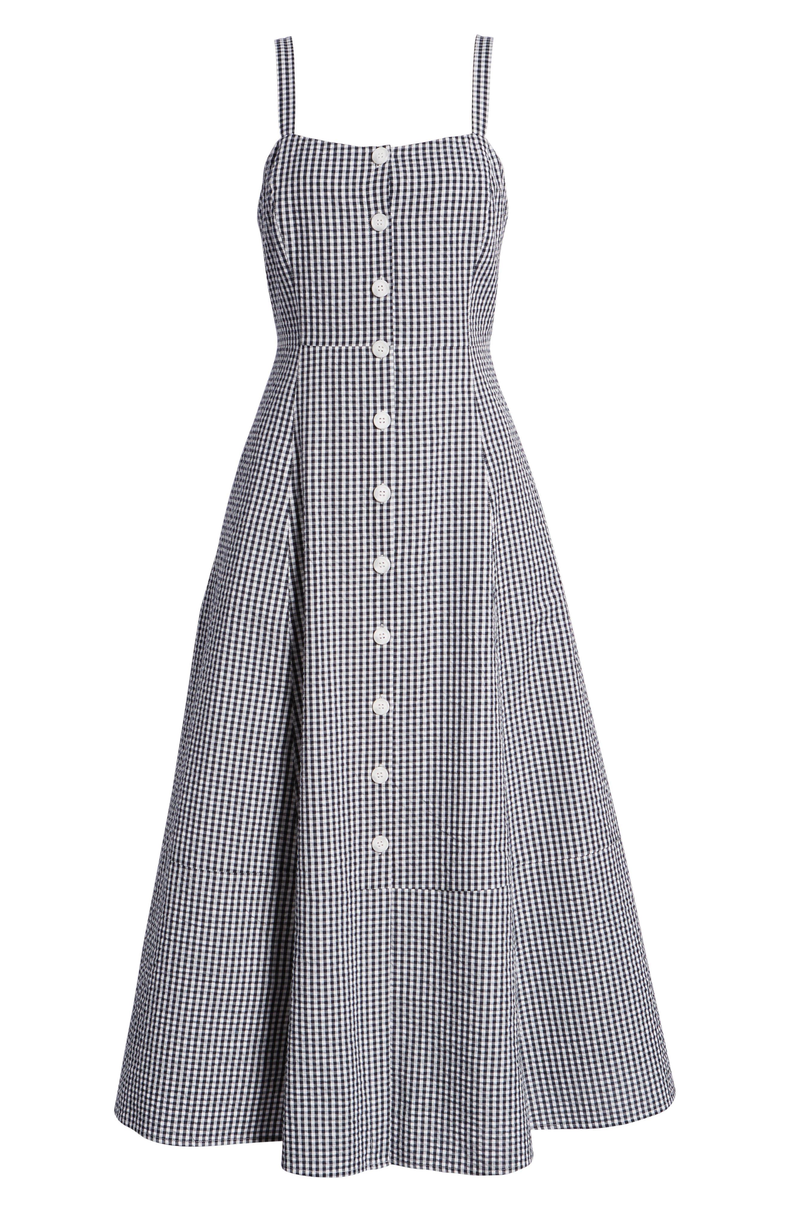 Gingham Button Front Cotton Blend Dress,                             Alternate thumbnail 7, color,                             Navy- White Gingham