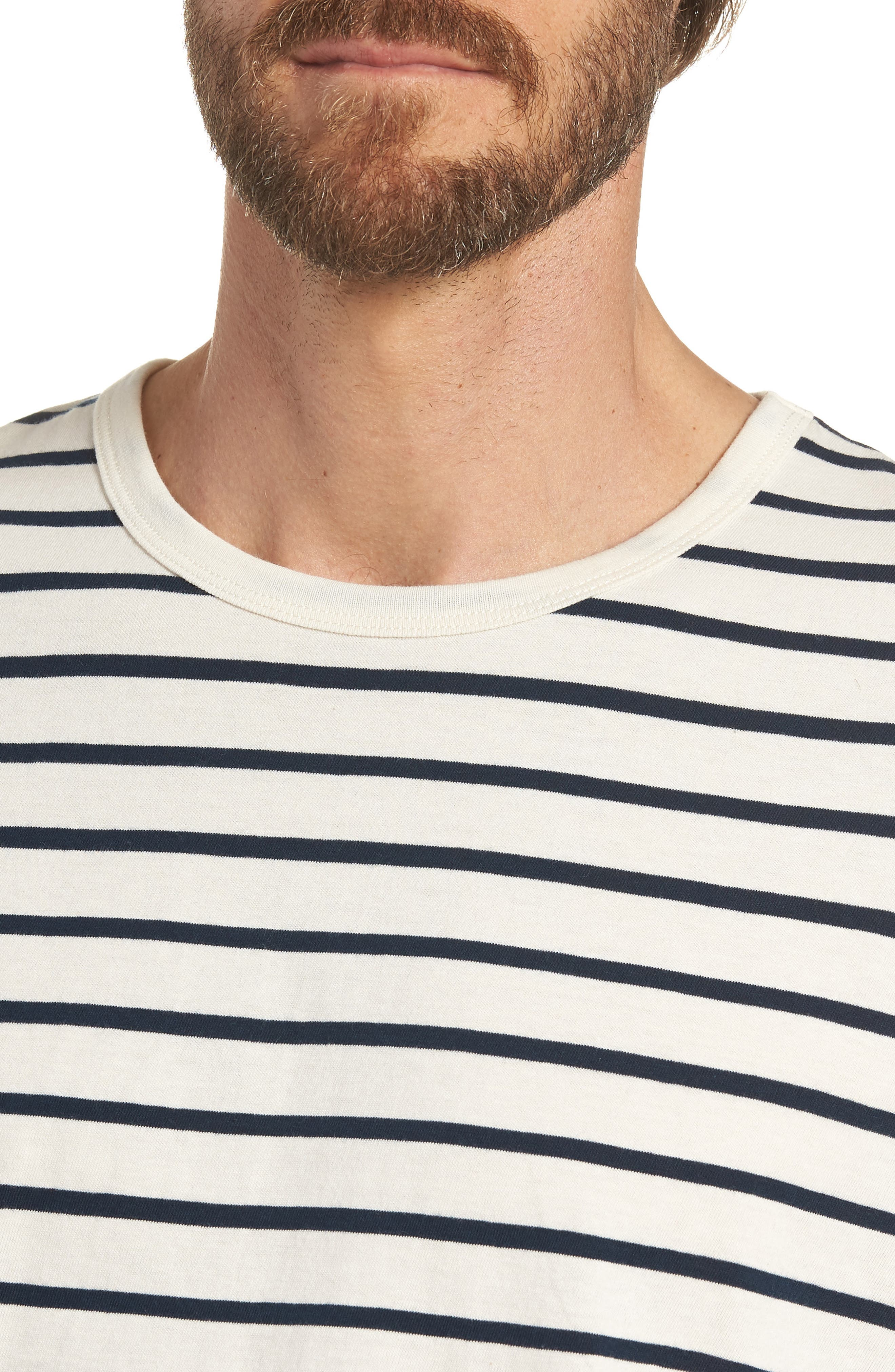 Mercantile Stripe Long Sleeve T-Shirt,                             Alternate thumbnail 4, color,                             Mountain White