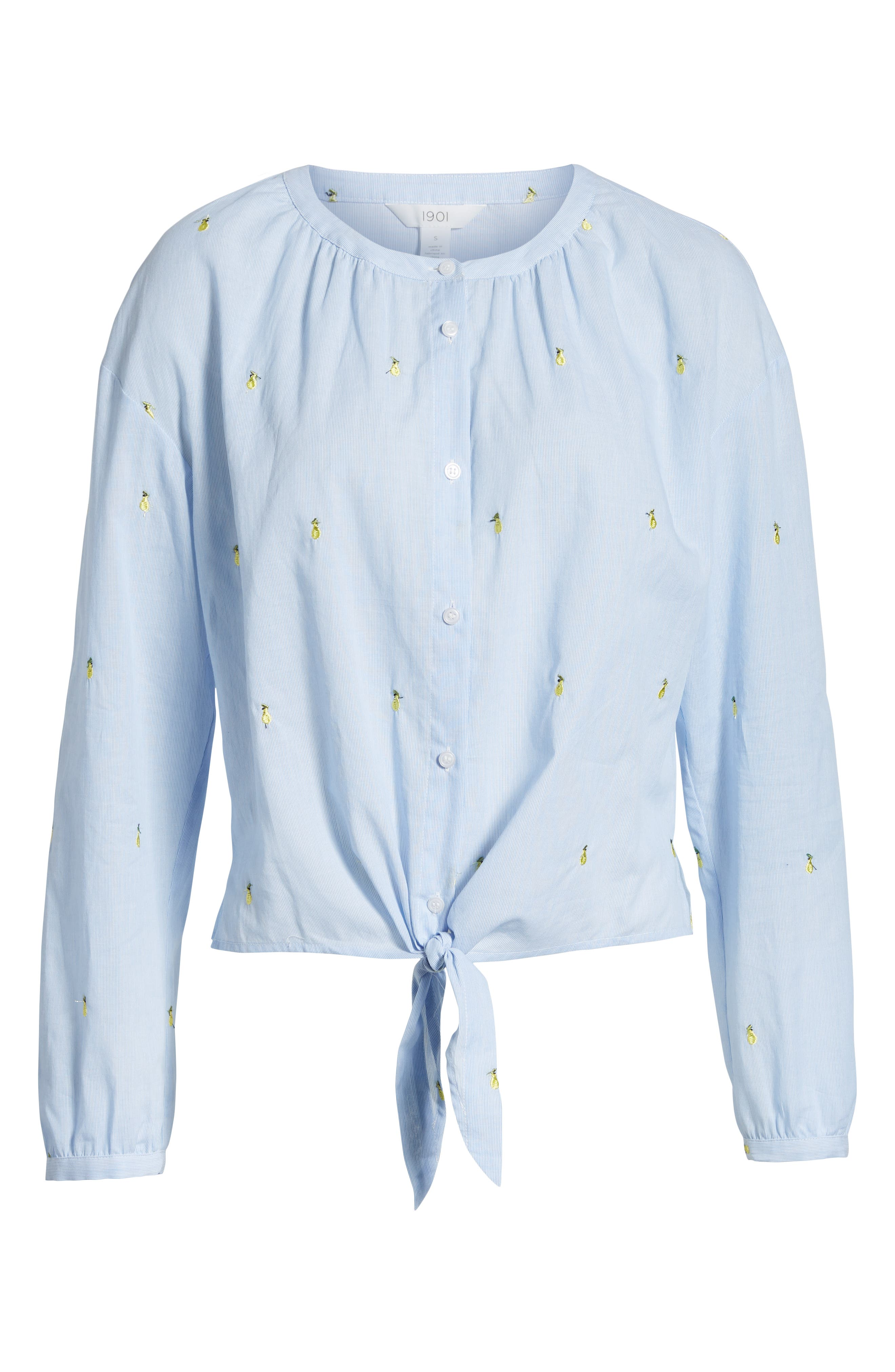Embroidery Tie Front Cotton Top,                             Alternate thumbnail 6, color,                             Blue Mini Pear