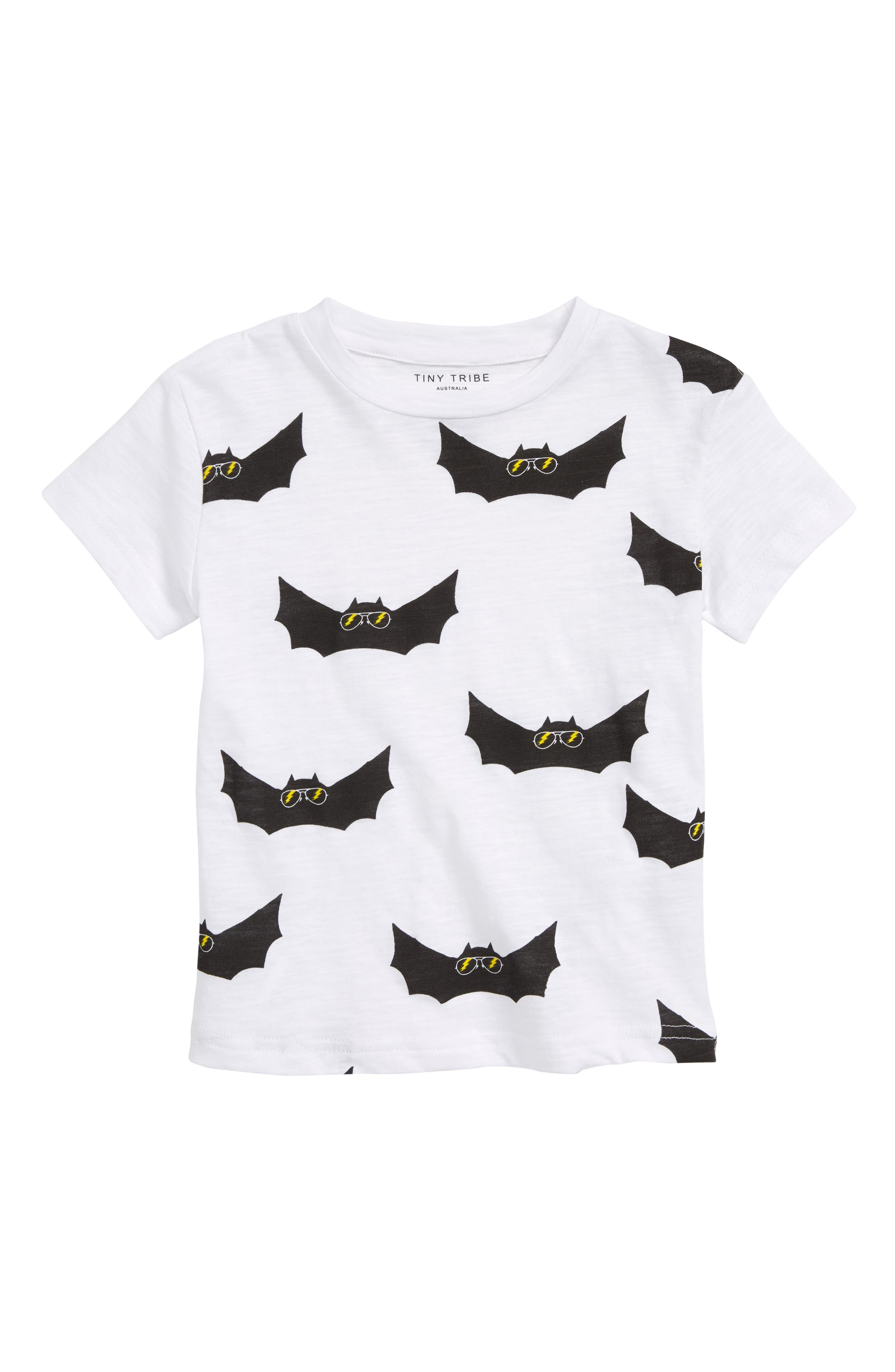 Electric Bat Print T-Shirt,                         Main,                         color, White