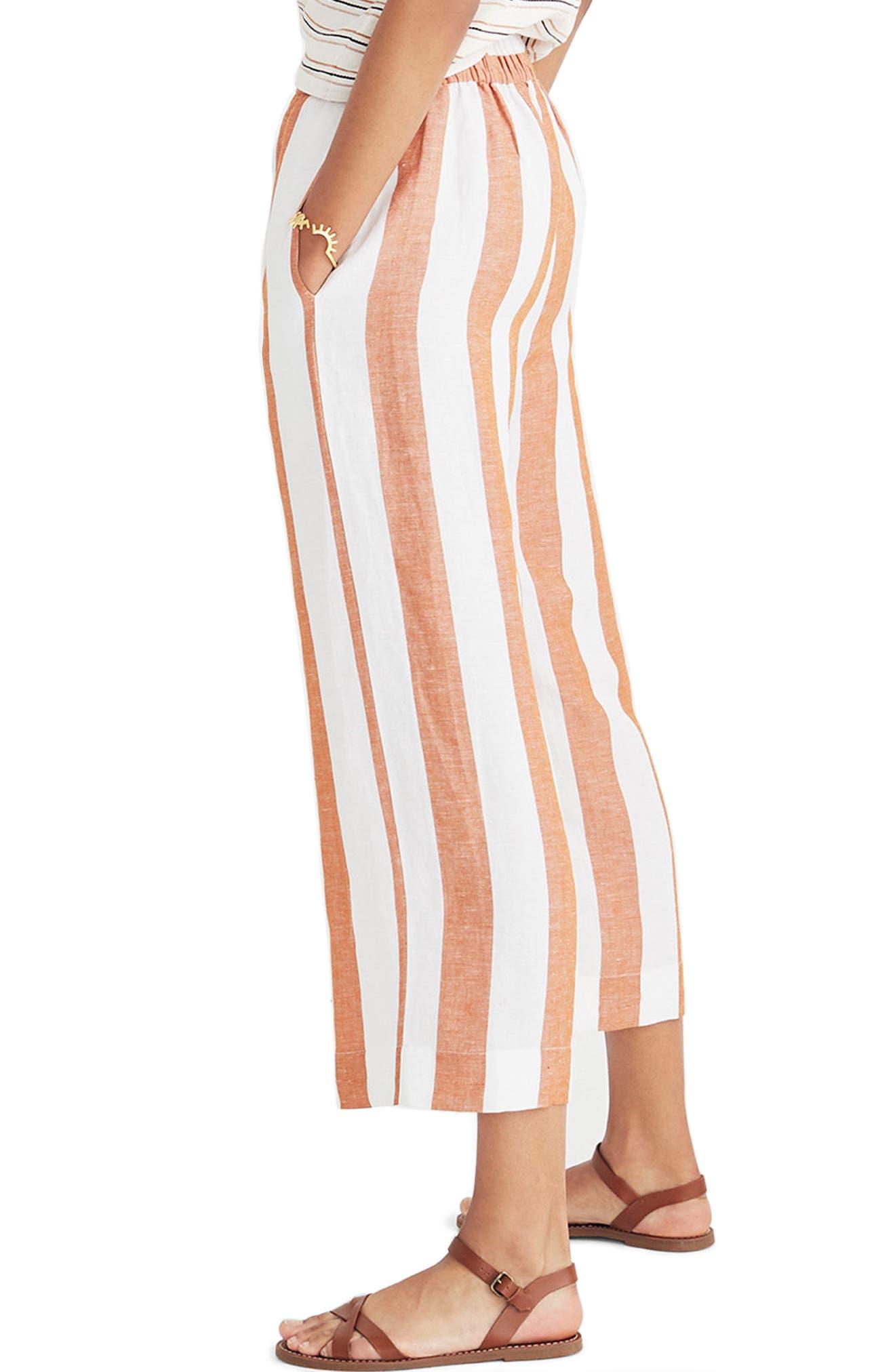 Huston Stripe Crop Pants,                             Alternate thumbnail 3, color,                             Burnt Orange