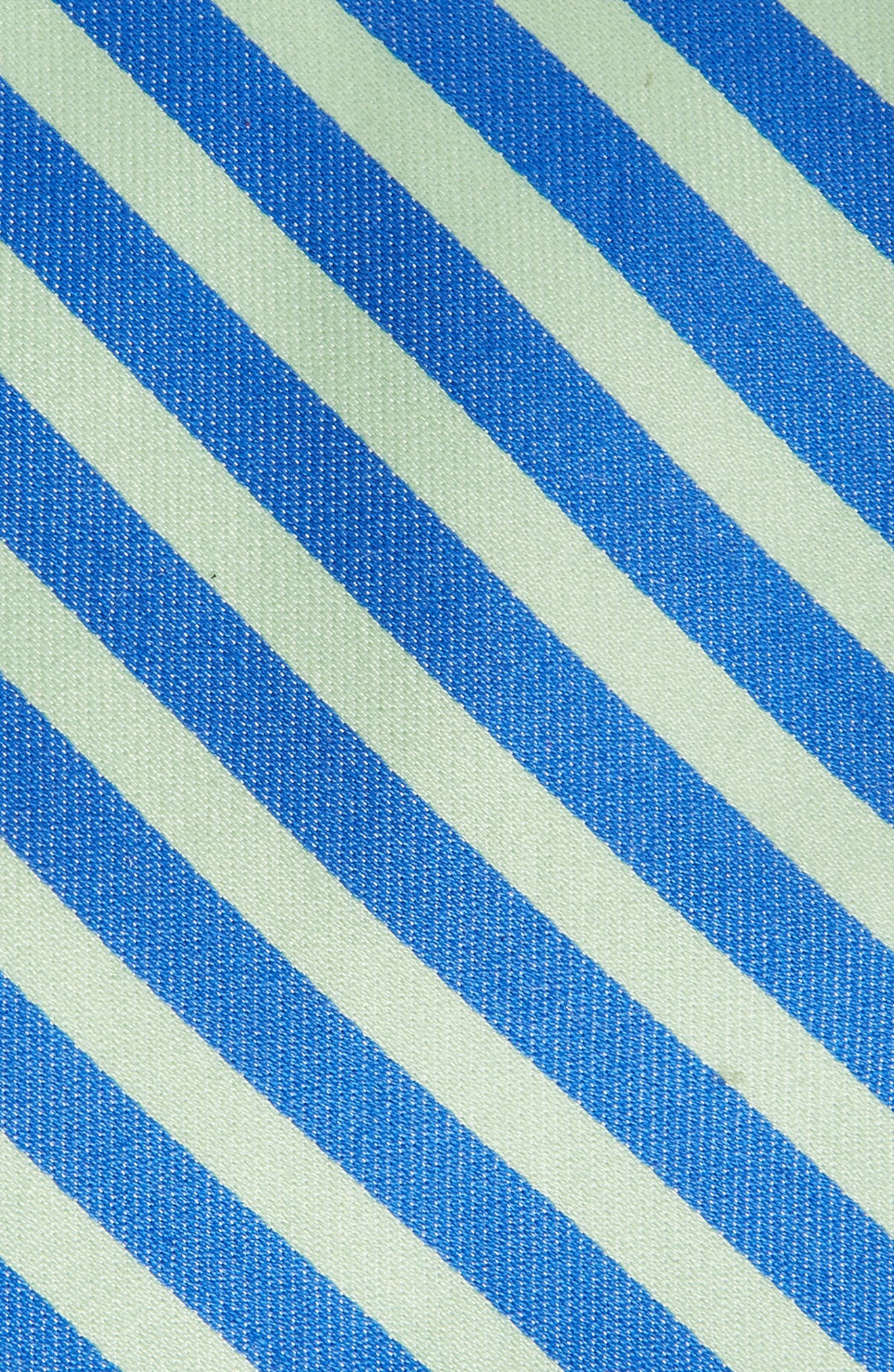 Striped Cotton & Silk Tie,                             Alternate thumbnail 2, color,                             Blue