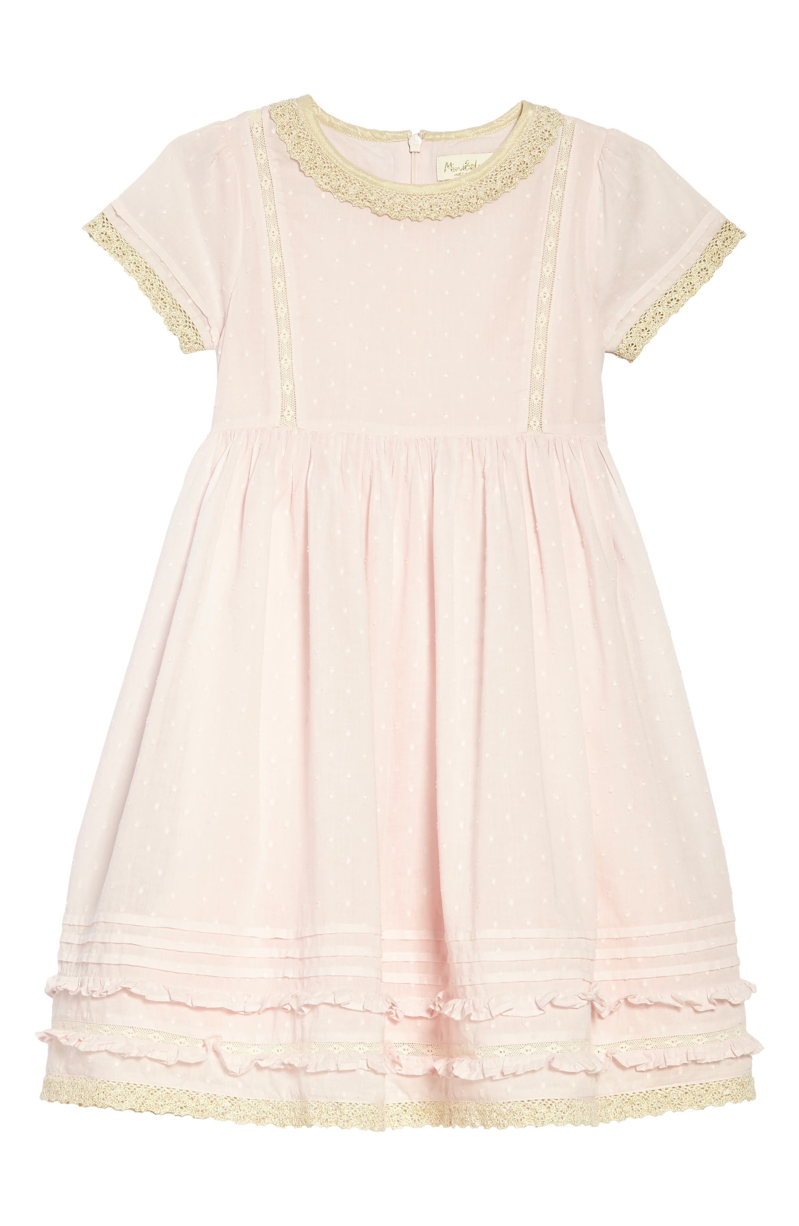Lace Trim Fit & Flare Dress,                             Main thumbnail 1, color,                             Pnkpink Mist