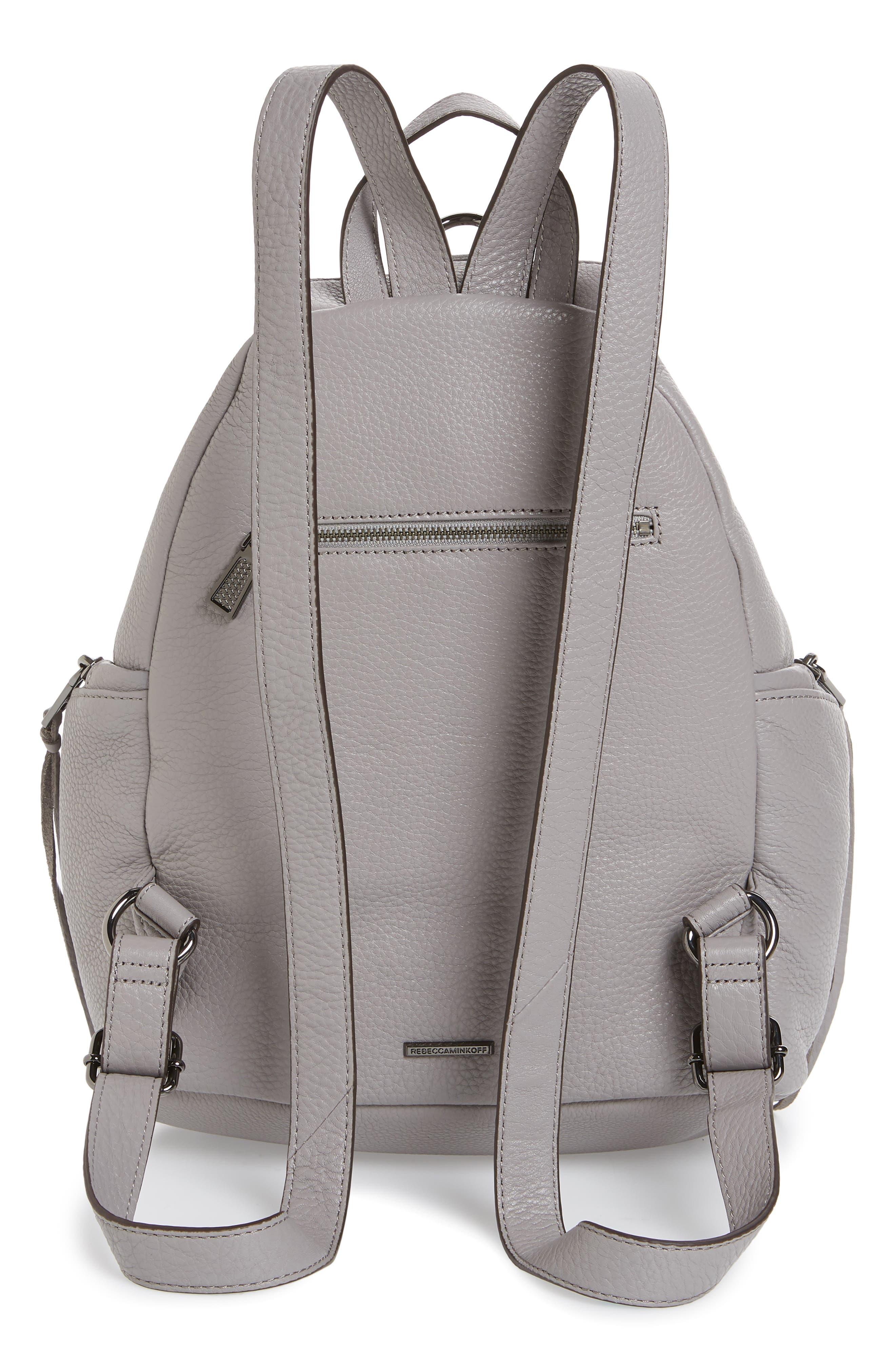 Julian Pebbled Leather Backpack,                             Alternate thumbnail 3, color,                             Grey