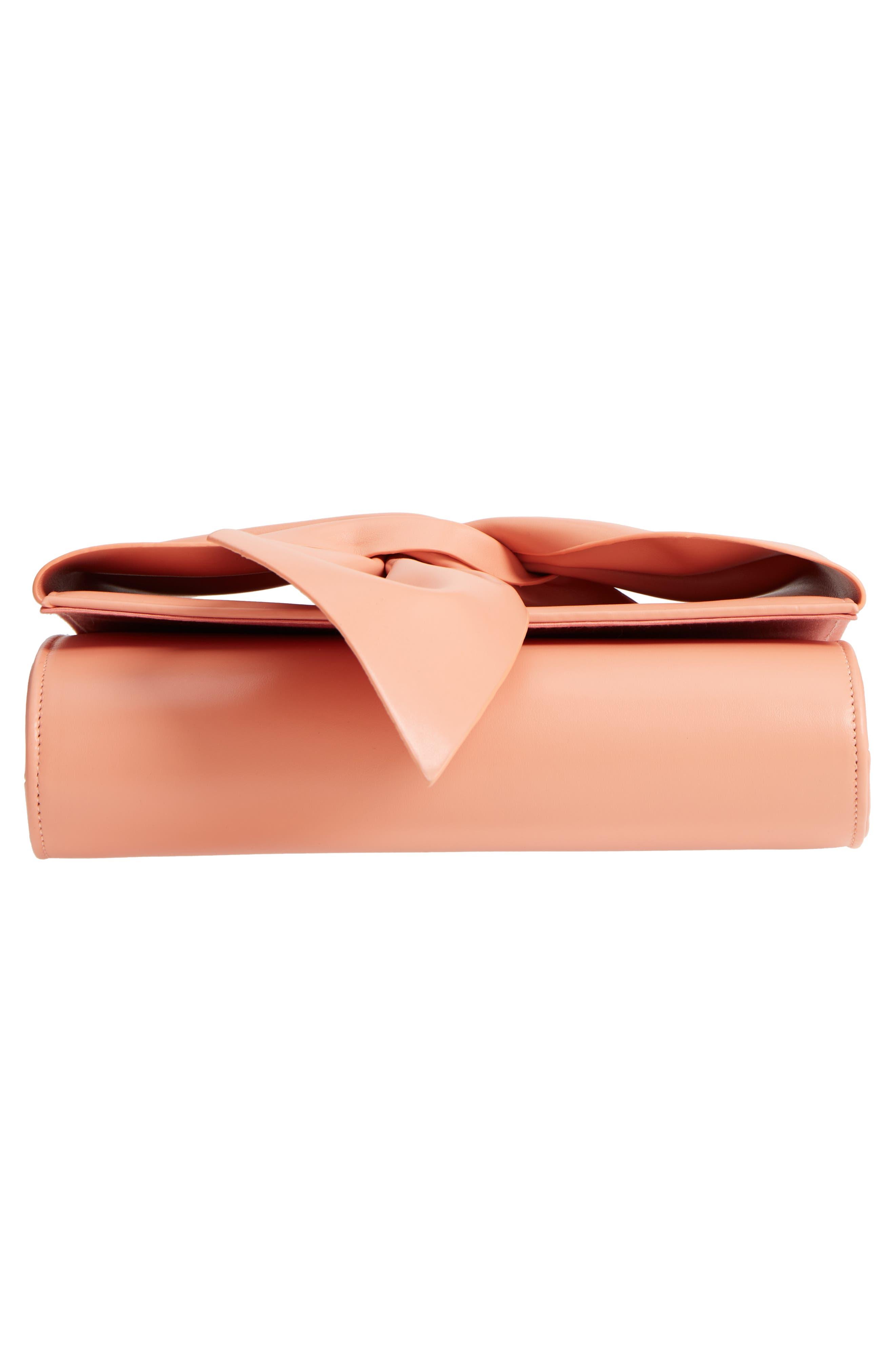 Faux Leather Bow Clutch,                             Alternate thumbnail 6, color,                             Peach