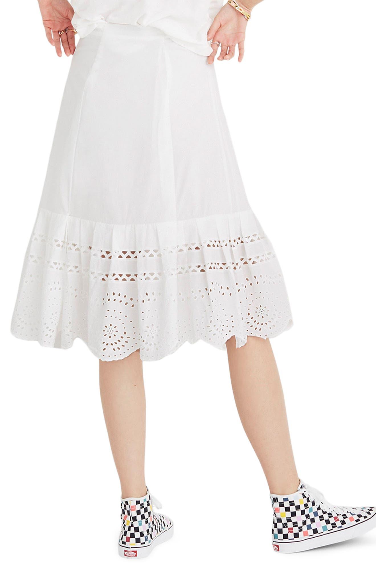 Eyelet Midi Skirt,                             Alternate thumbnail 2, color,                             Eyelet White