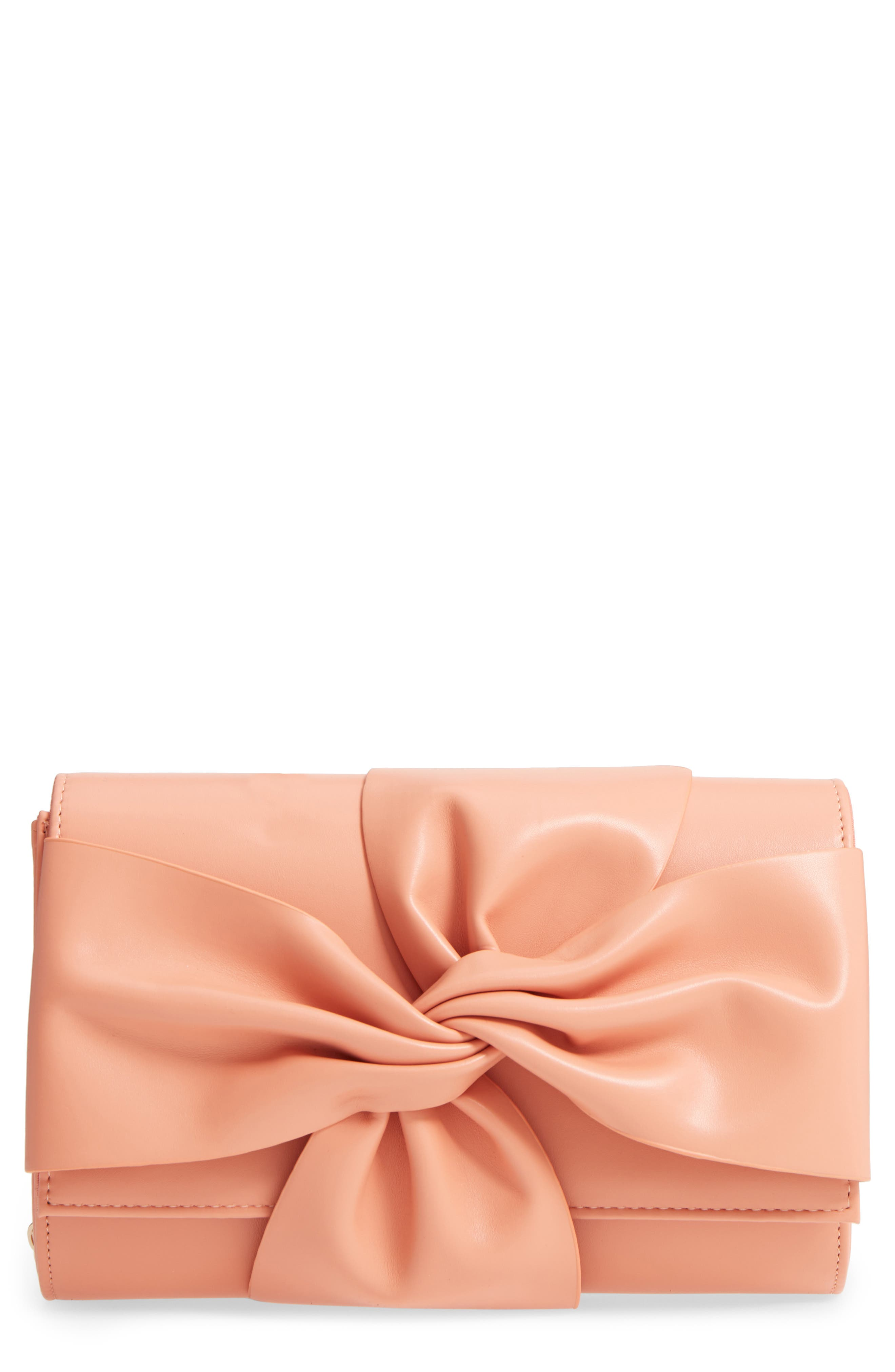 Faux Leather Bow Clutch,                             Main thumbnail 1, color,                             Peach