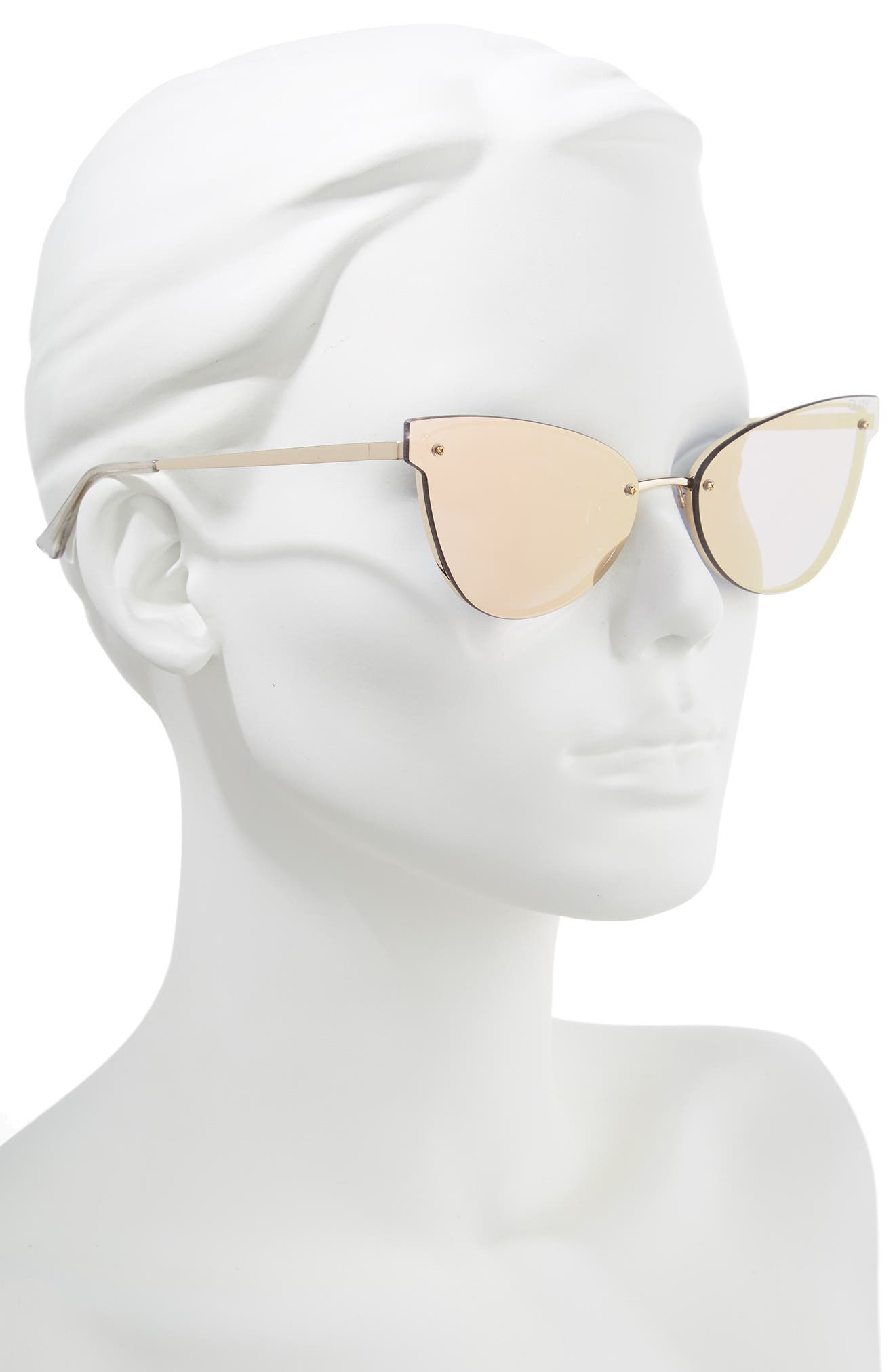Lady Luck 60mm Cat Eye Sunglasses,                             Alternate thumbnail 3, color,                             Gold/ Gold