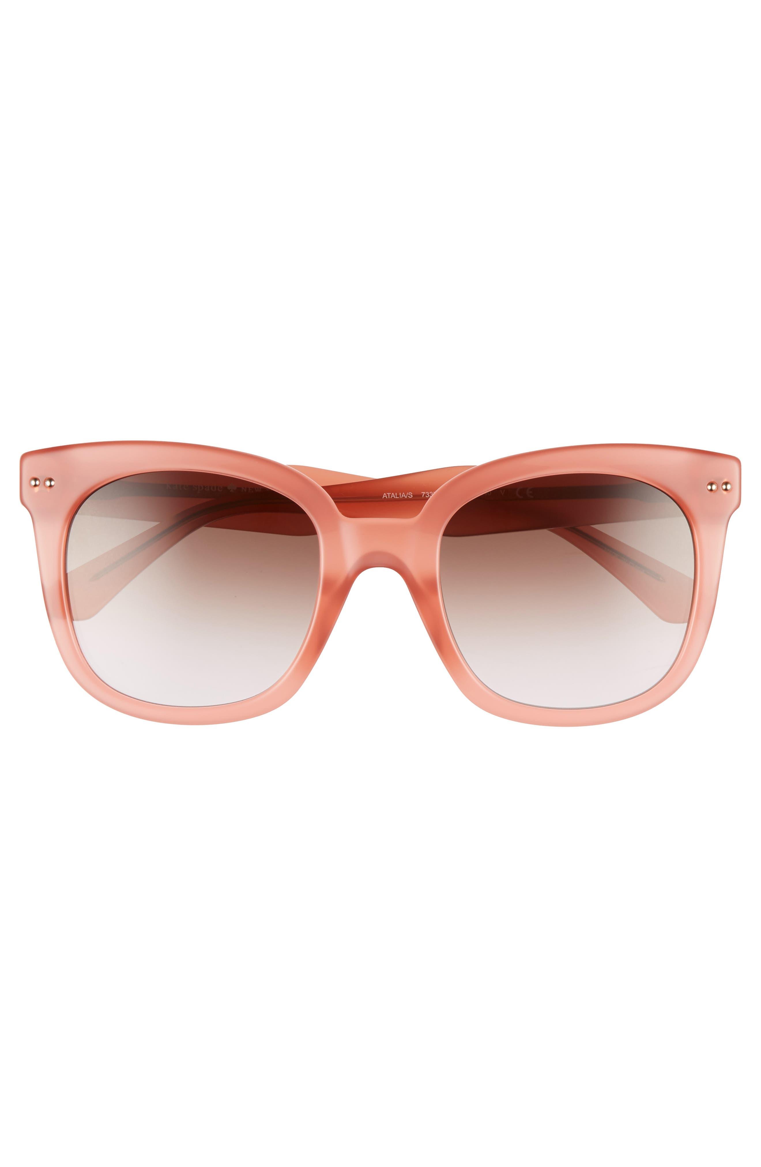 atalias 52mm square sunglasses,                             Alternate thumbnail 3, color,                             Peach