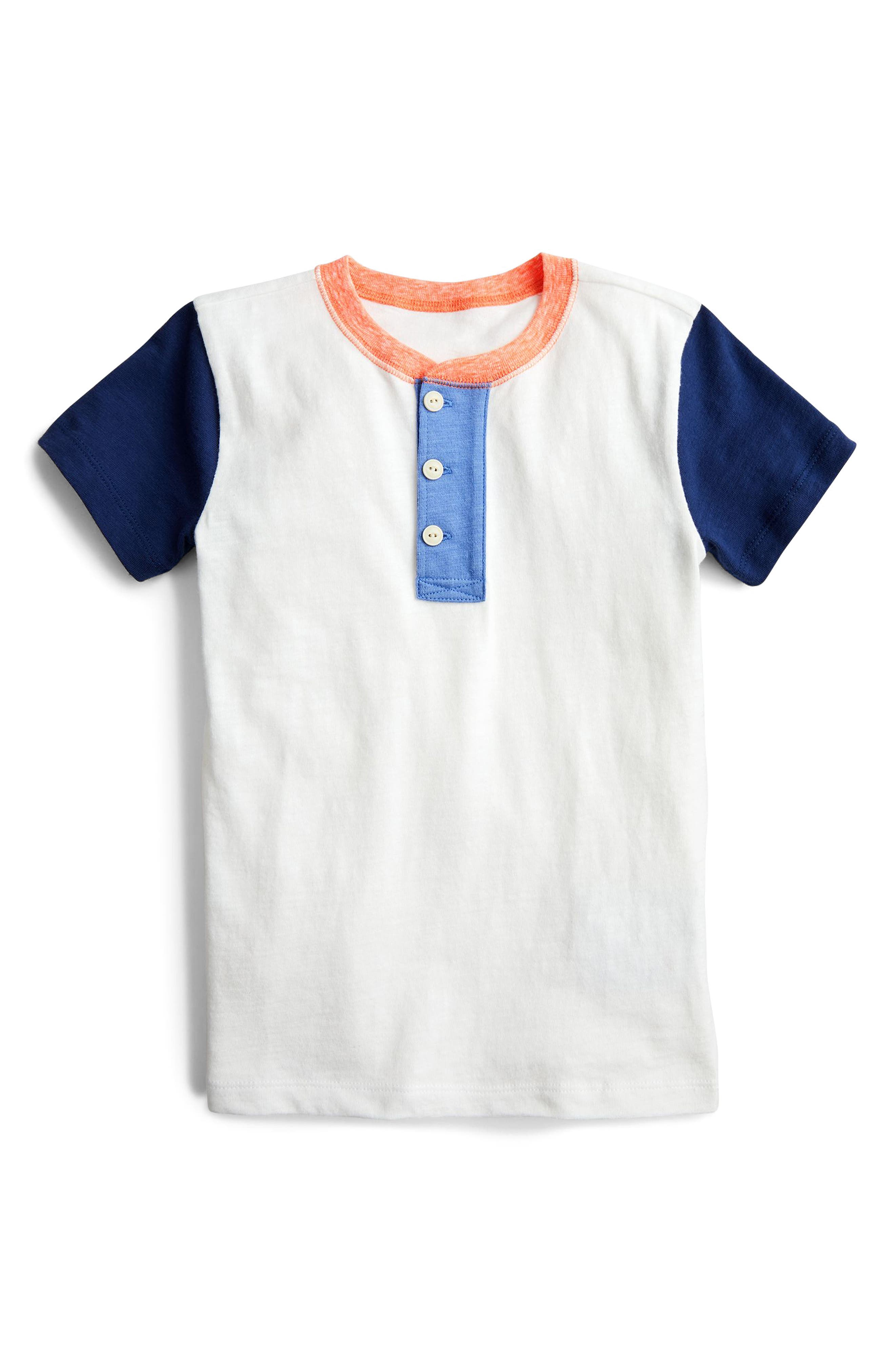 Colorblock Henley Shirt,                         Main,                         color, Ivory Multi