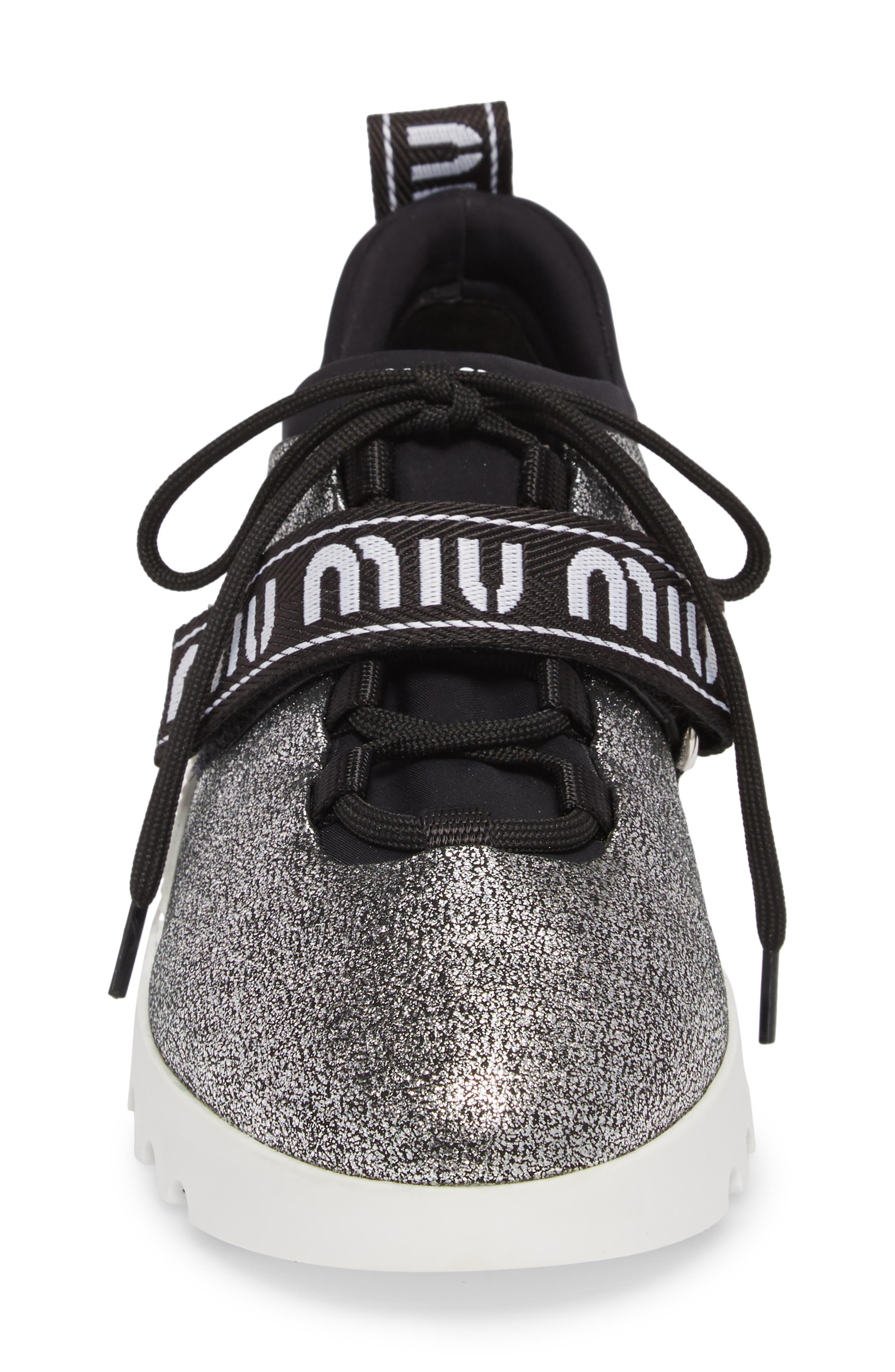 Logo Strap Platform Sneaker,                             Alternate thumbnail 4, color,                             Chrome Glitter