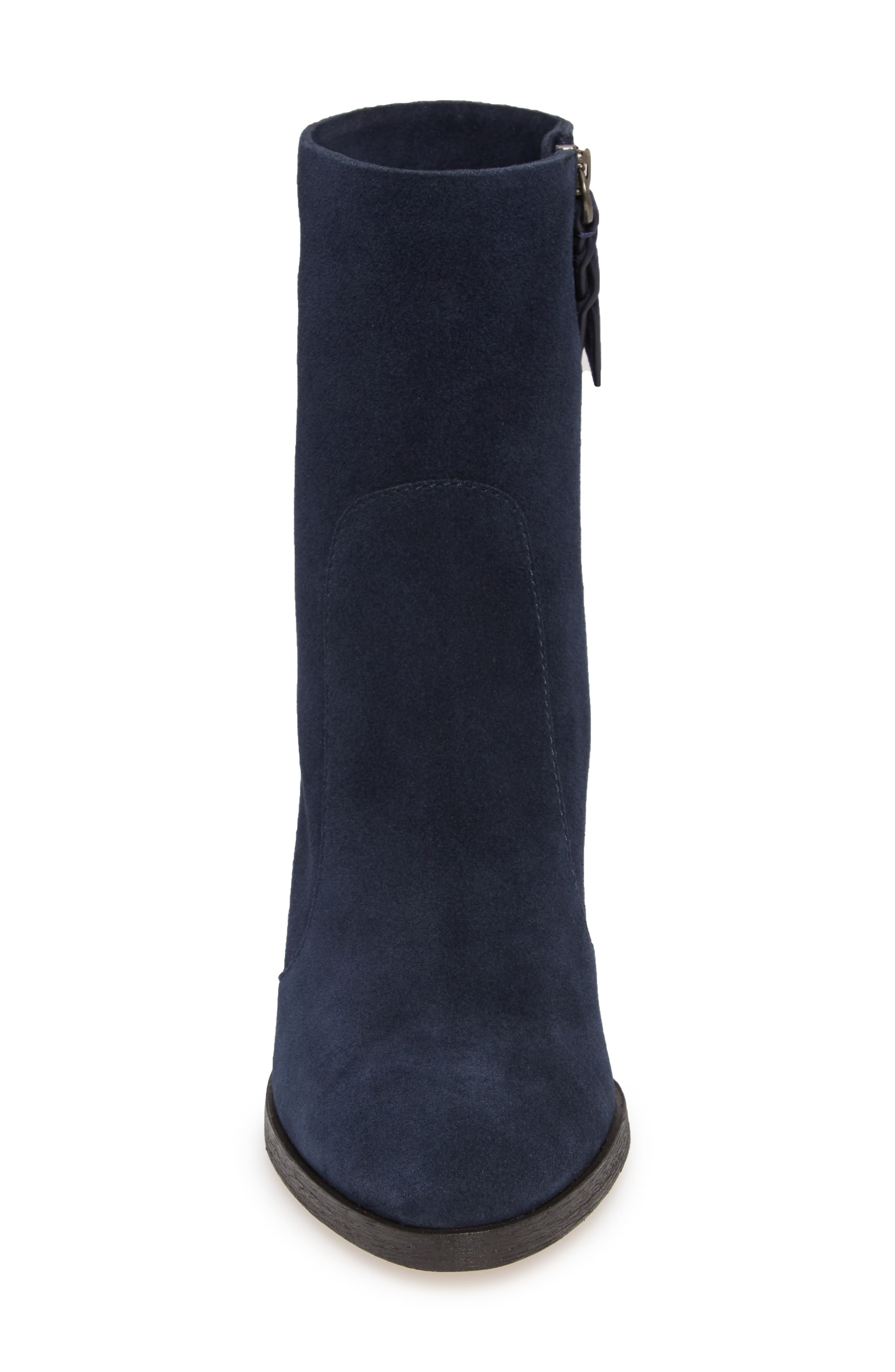 Roselyn II Almond Toe Bootie,                             Alternate thumbnail 4, color,                             Navy Suede