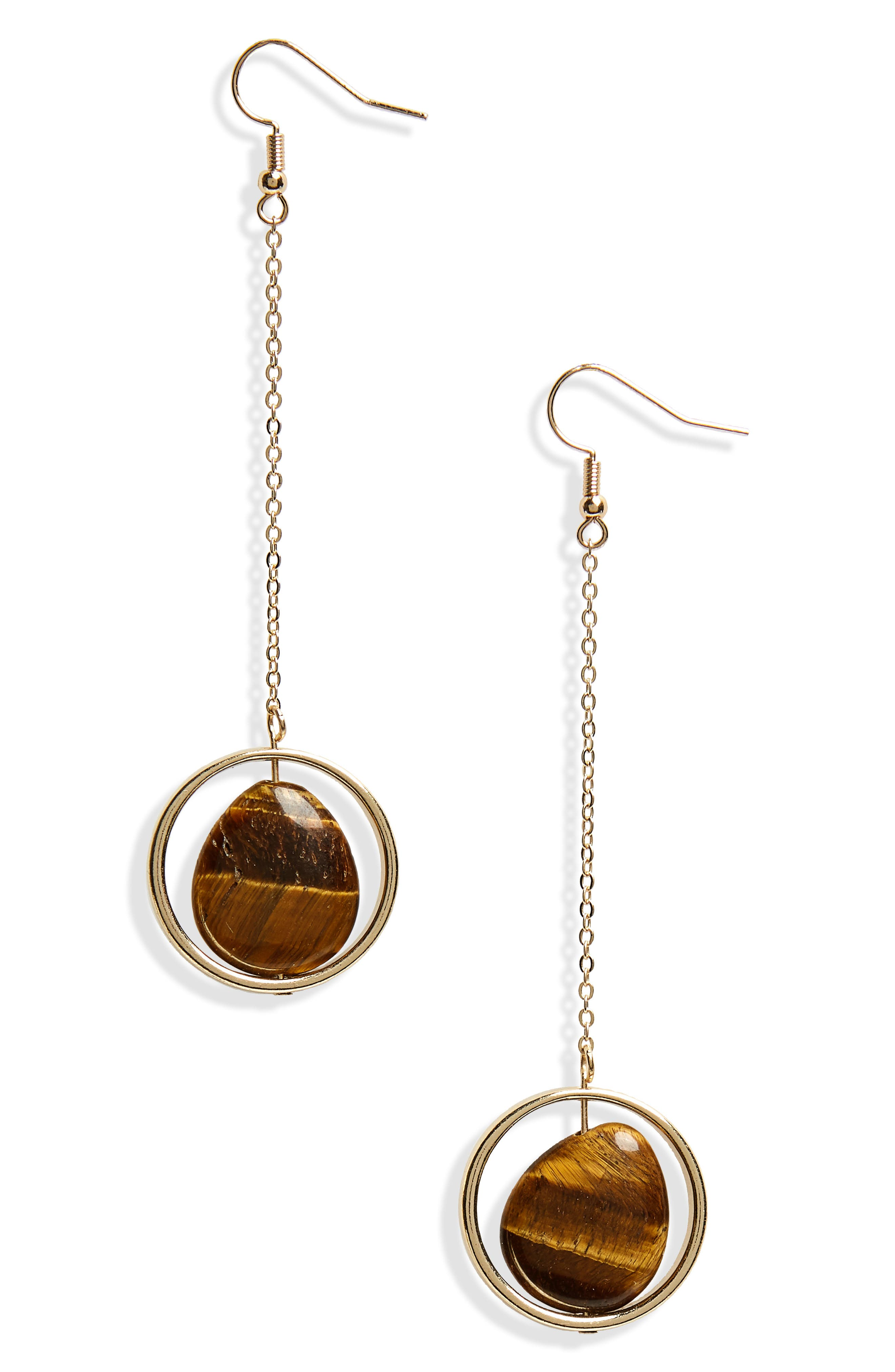 Tiger's Eye Drop Earrings,                         Main,                         color, Gold/ Stone