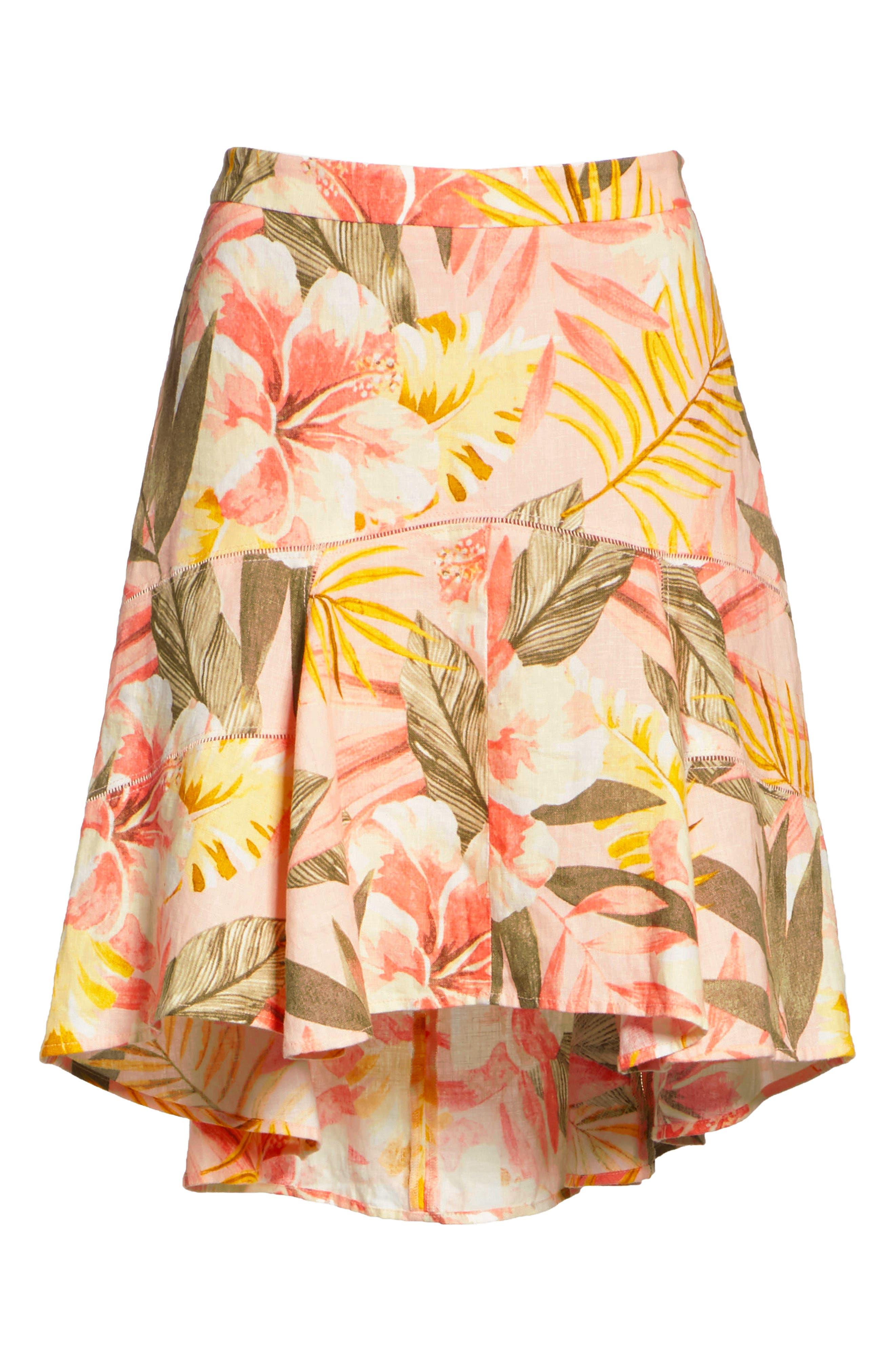Radhiya Linen Floral Ruffle Skirt,                             Alternate thumbnail 6, color,                             Dusty Nude