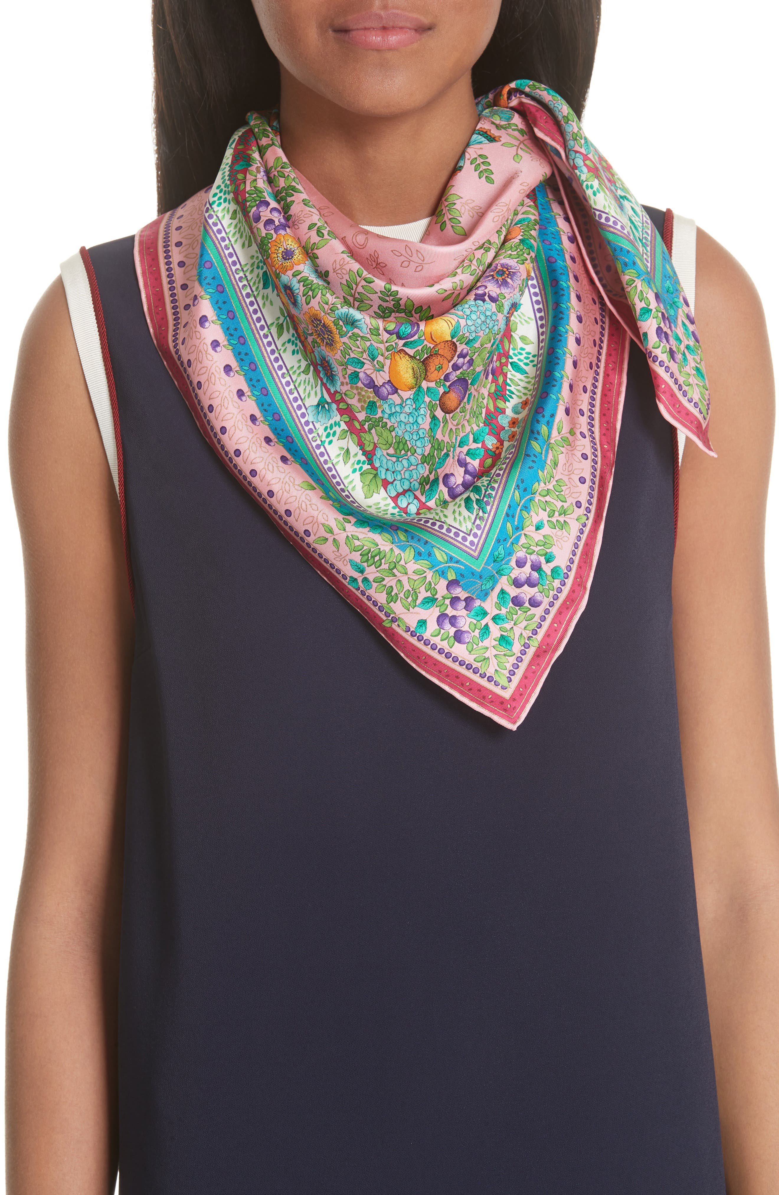 Liberty Flowers Fouland Silk Square Scarf,                             Alternate thumbnail 2, color,                             Pink