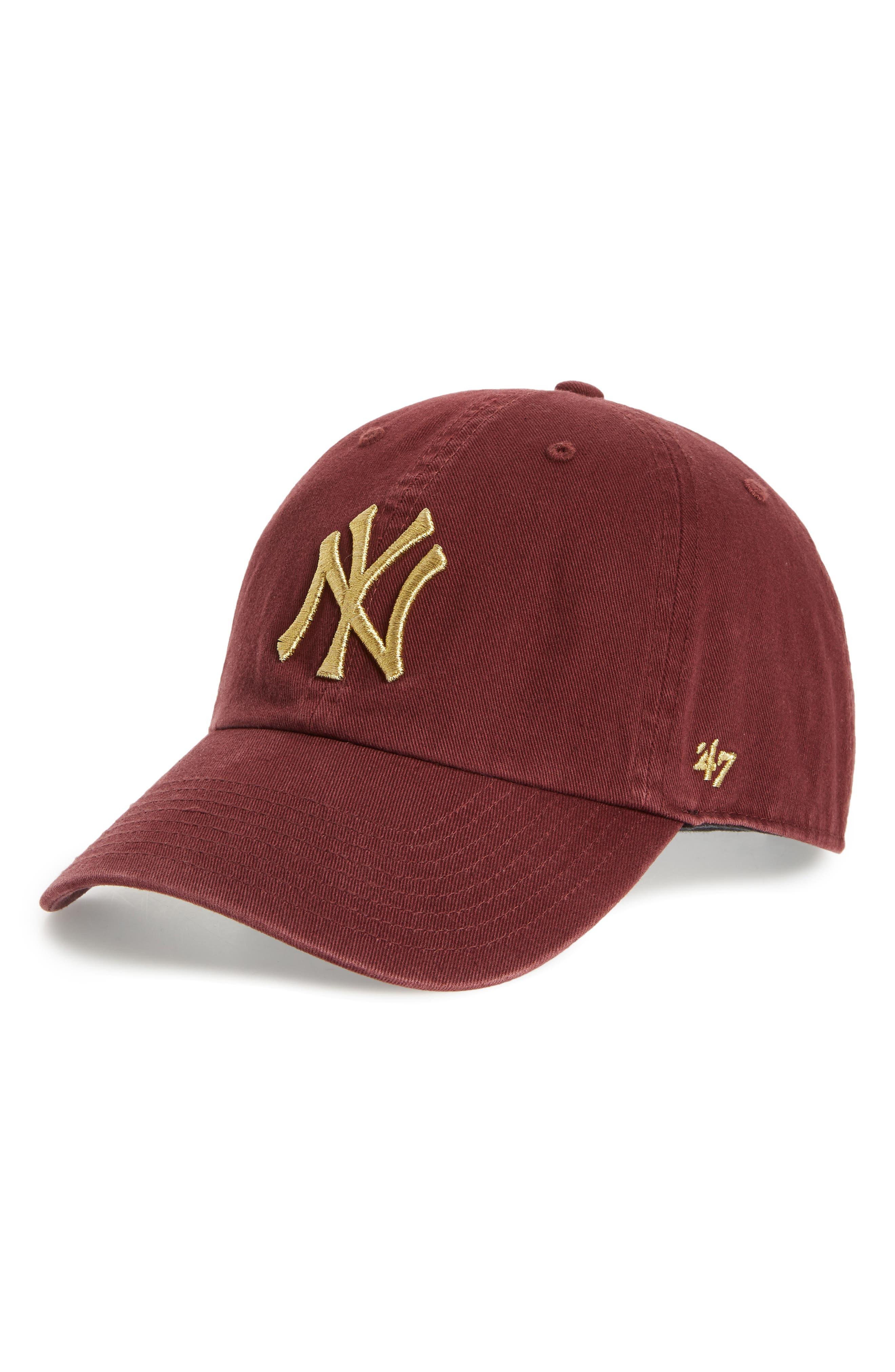 Clean Up New York Yankees Metallic Baseball Cap,                             Main thumbnail 1, color,                             Dark Red