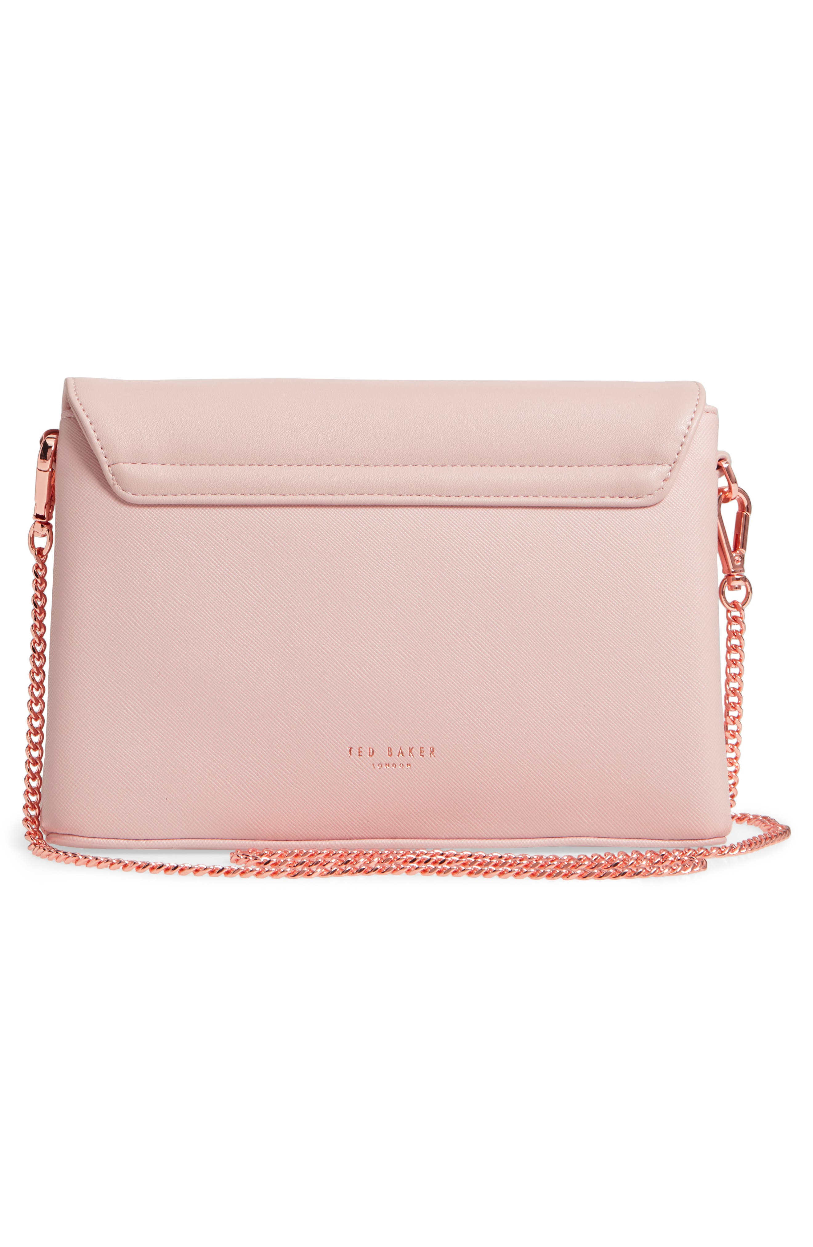 Faux Leather Crossbody Bag,                             Alternate thumbnail 3, color,                             Nude Pink
