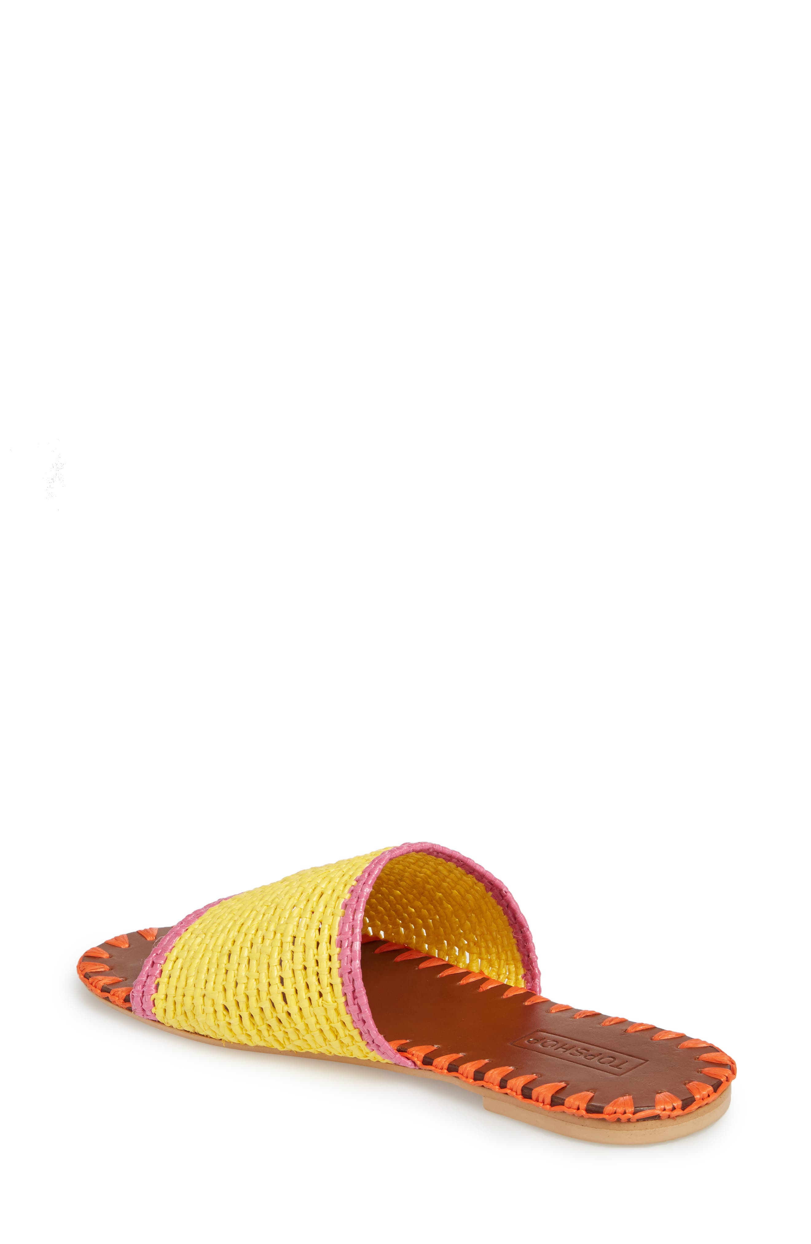 Fresh Woven Slide Sandal,                             Alternate thumbnail 2, color,                             Yellow Multi