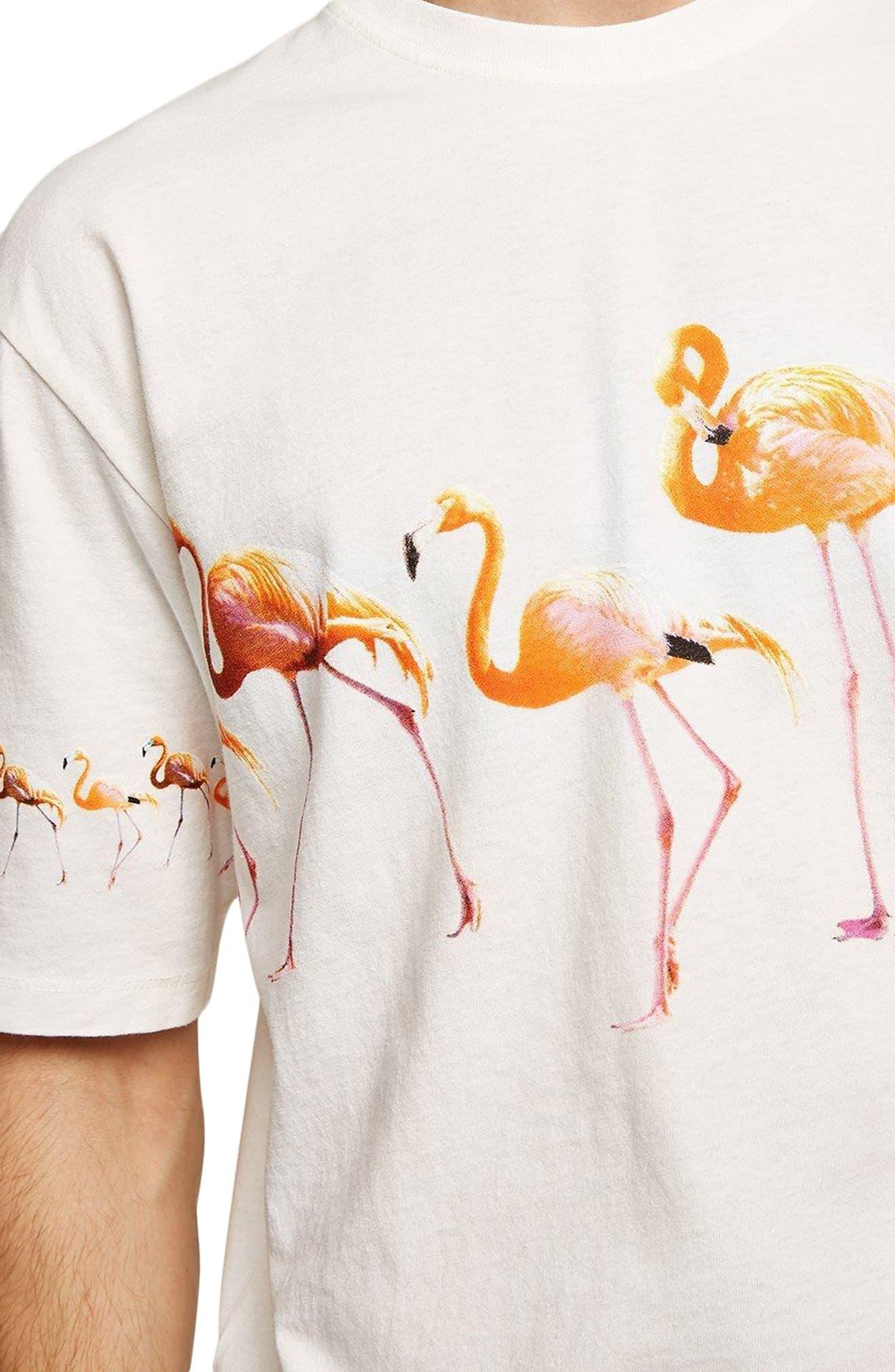 Oversize Flamingo Graphic T-Shirt,                             Alternate thumbnail 3, color,                             Cream