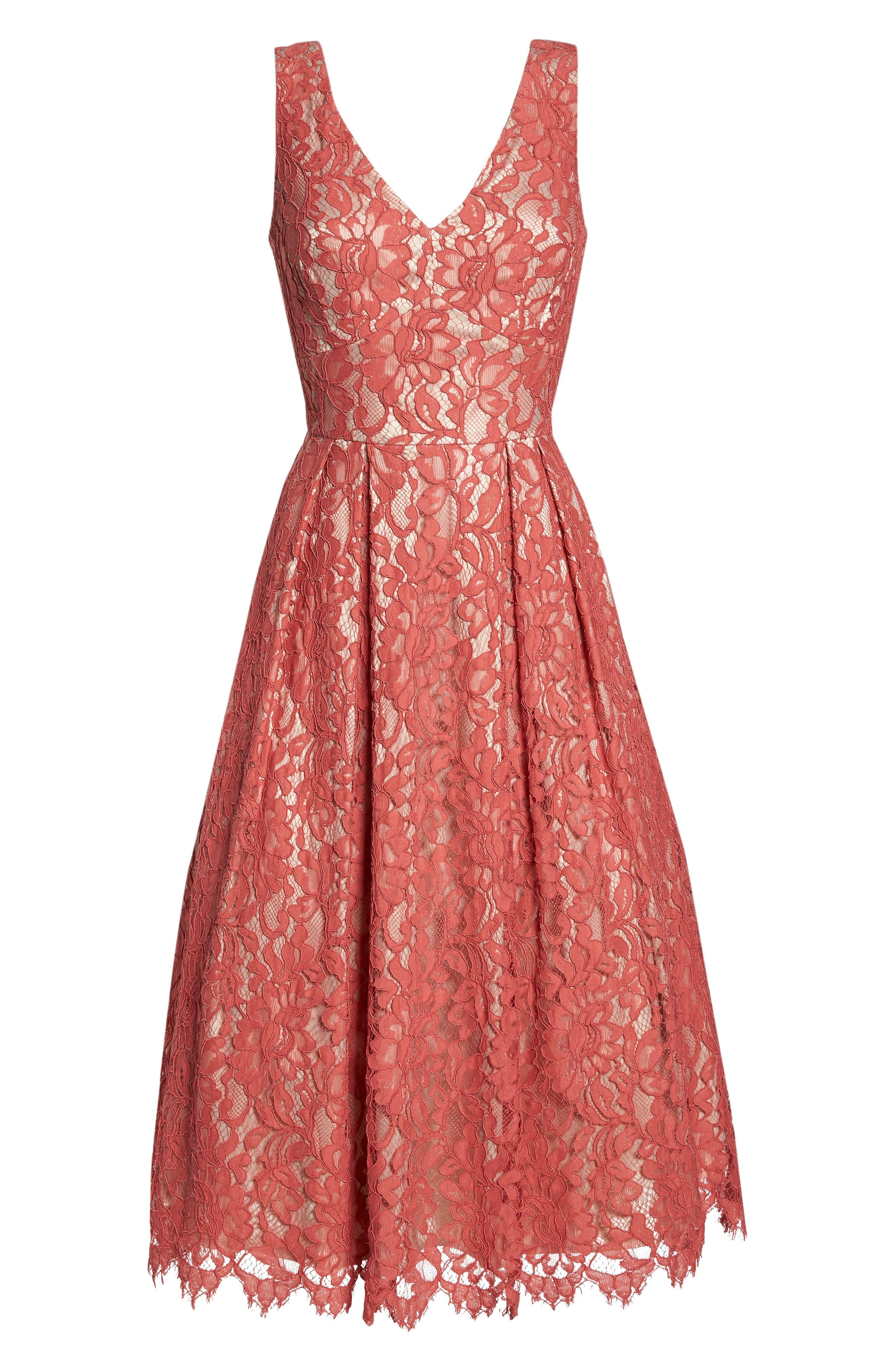 V-Neck Lace Midi Dress,                             Alternate thumbnail 7, color,                             Rose