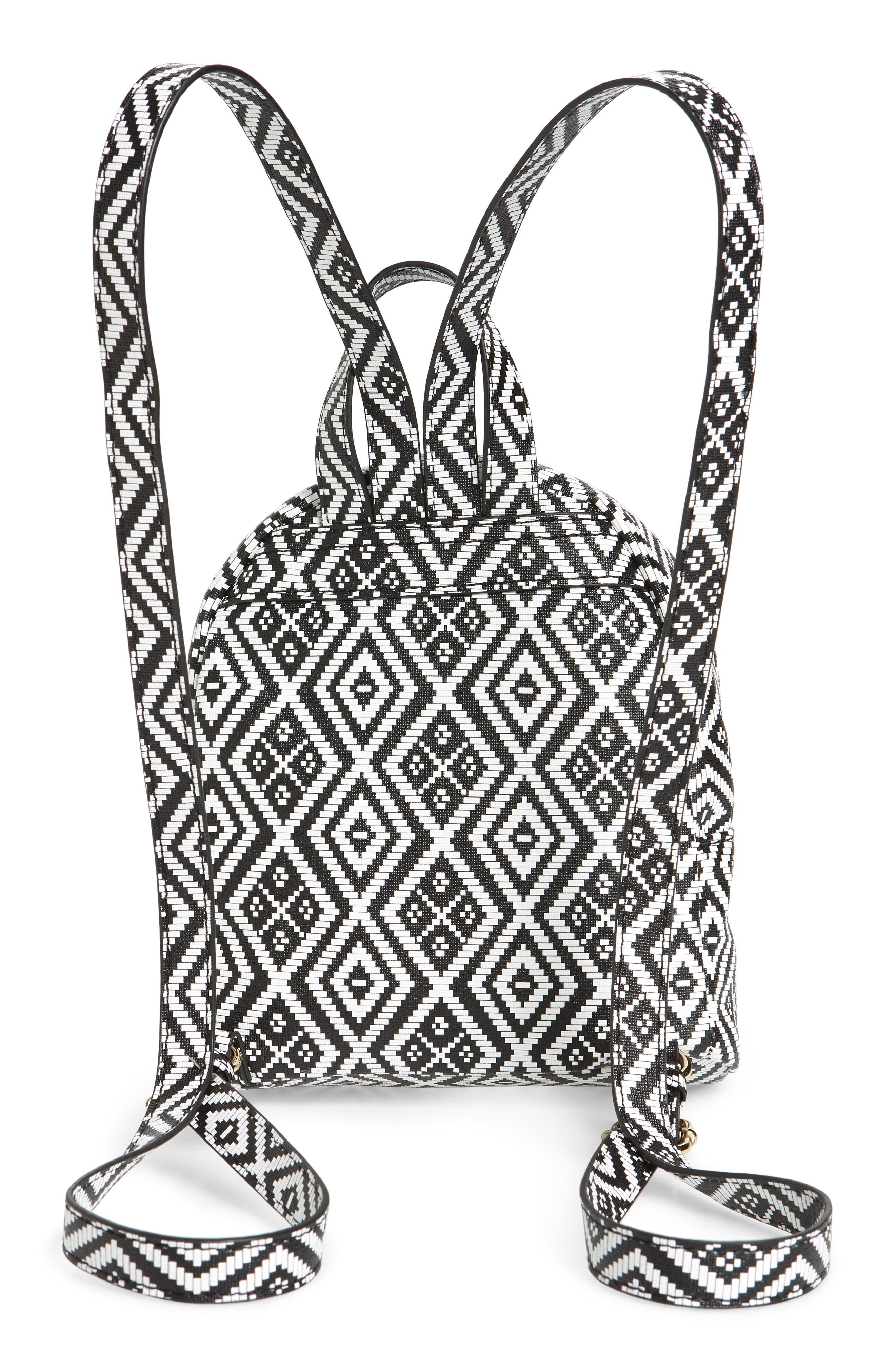 Weave Pattern Faux Leather Mini Backpack,                             Alternate thumbnail 3, color,                             Black/ White
