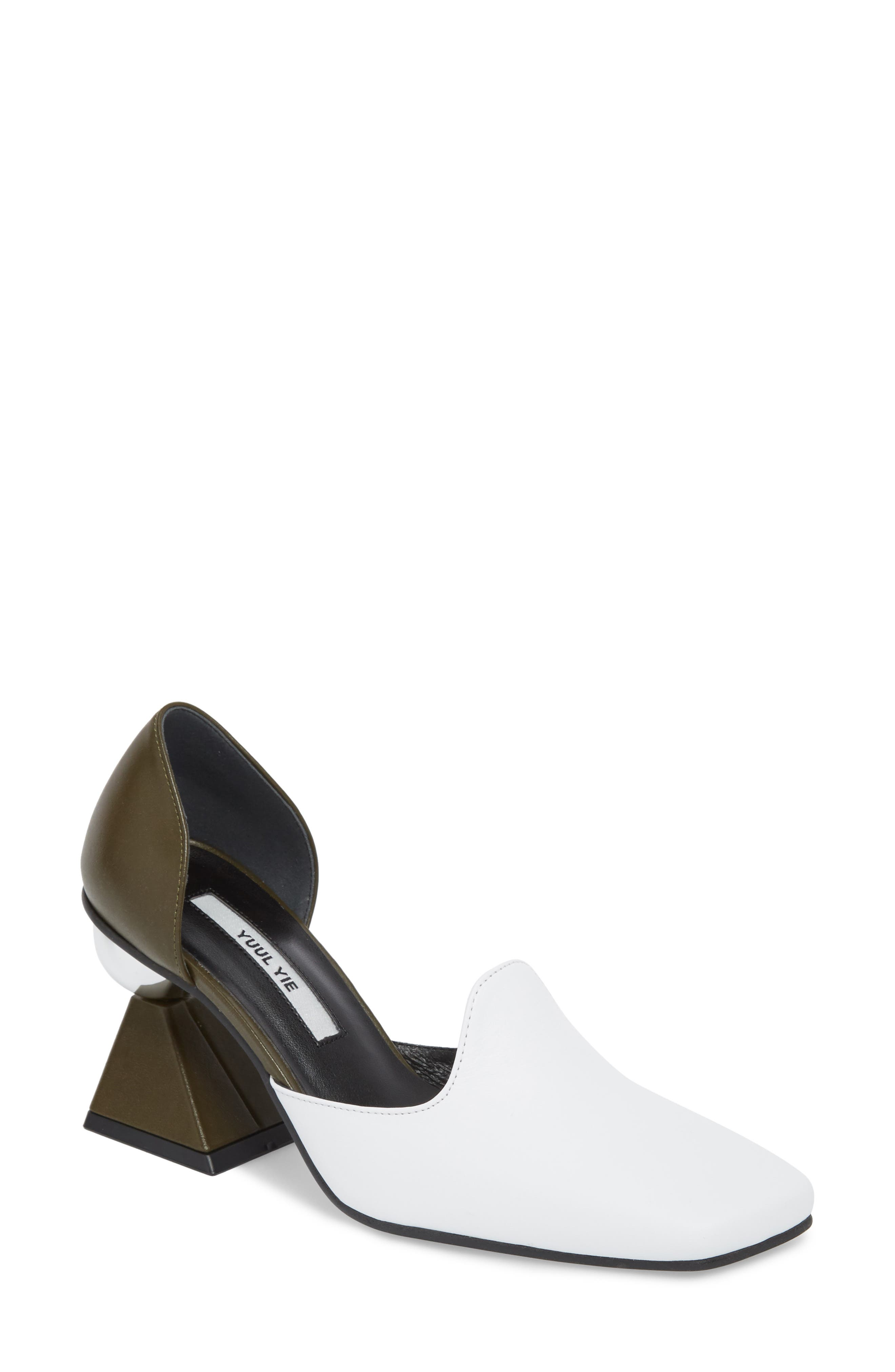 Statement Heel d'Orsay Pump,                         Main,                         color, White/ Olive Green