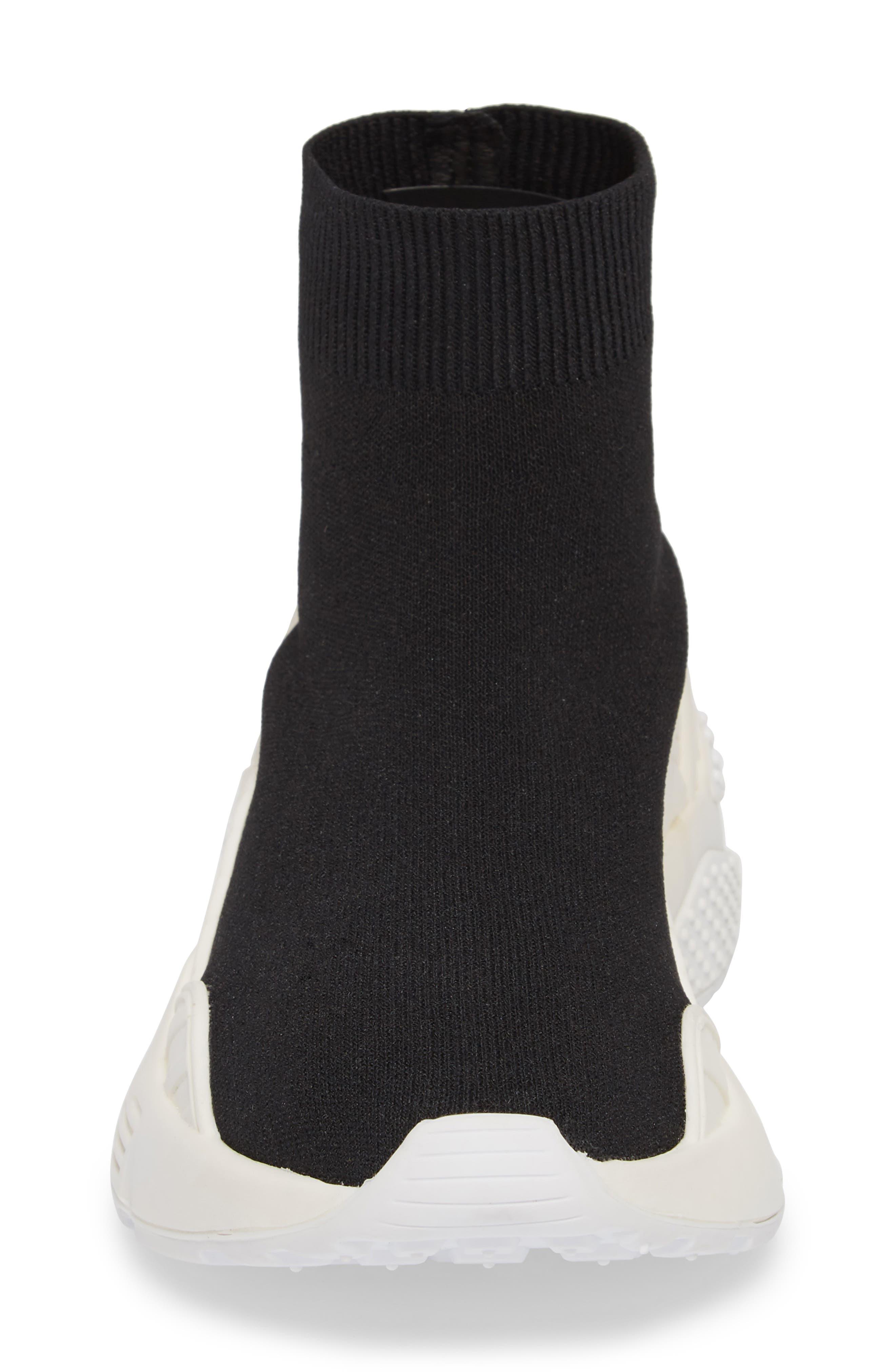 Lunix Sock Sneaker,                             Alternate thumbnail 4, color,                             Black/ White Leather