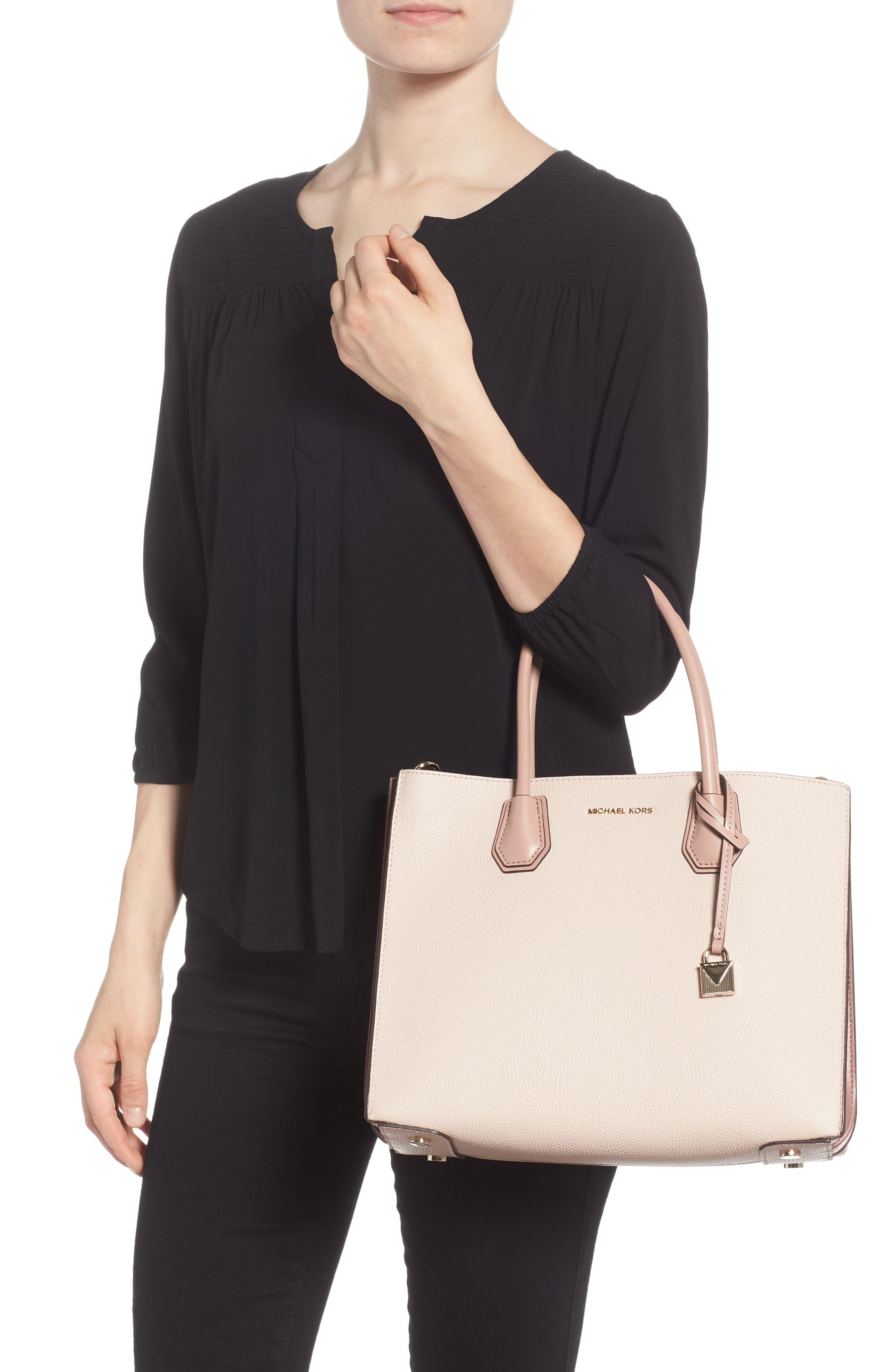 Large Mercer Leather Tote,                             Alternate thumbnail 2, color,                             Soft Pink