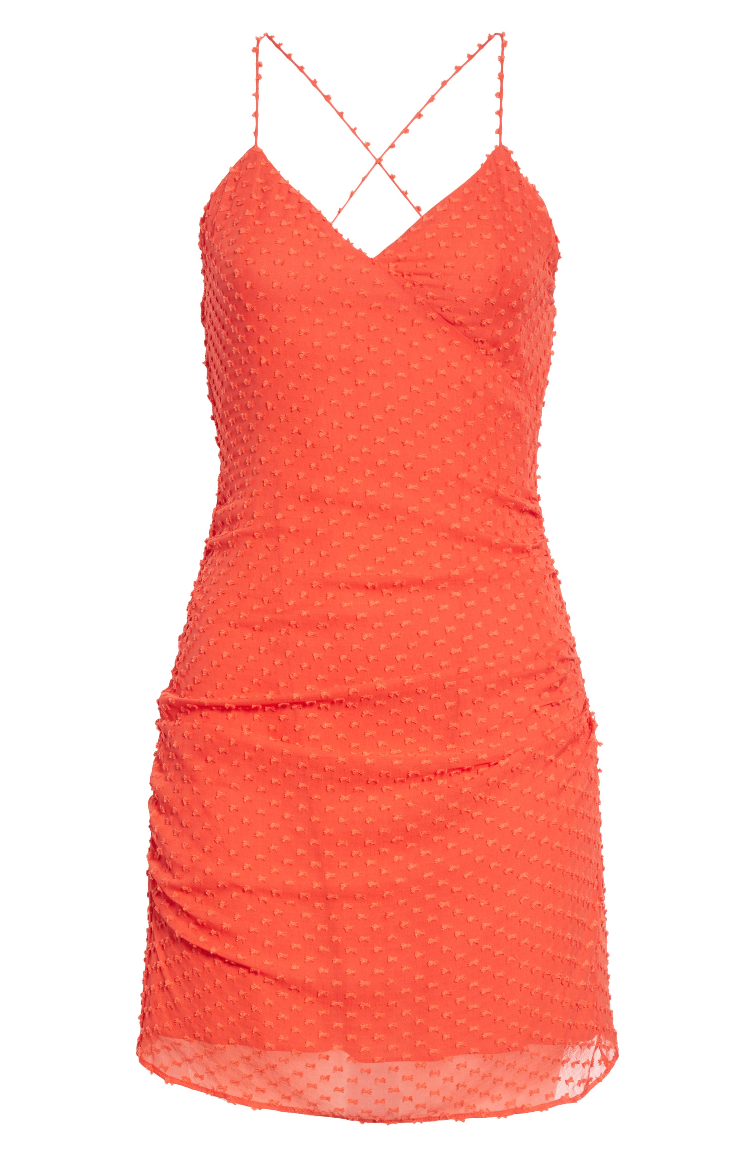 Daria Ruched Flare Silk Cotton Dress,                             Alternate thumbnail 6, color,                             Perfect Poppy