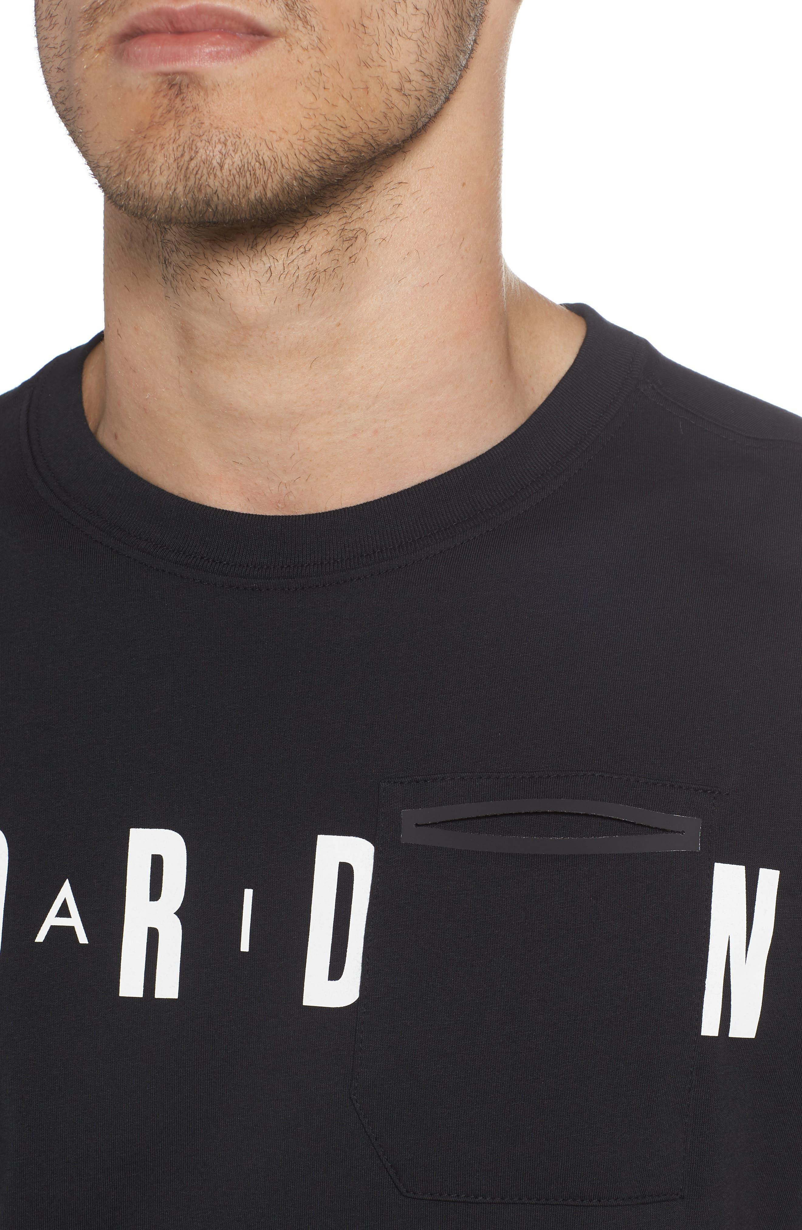 Jordan Sportswear Graphic Shirt,                             Alternate thumbnail 4, color,                             Black/ White