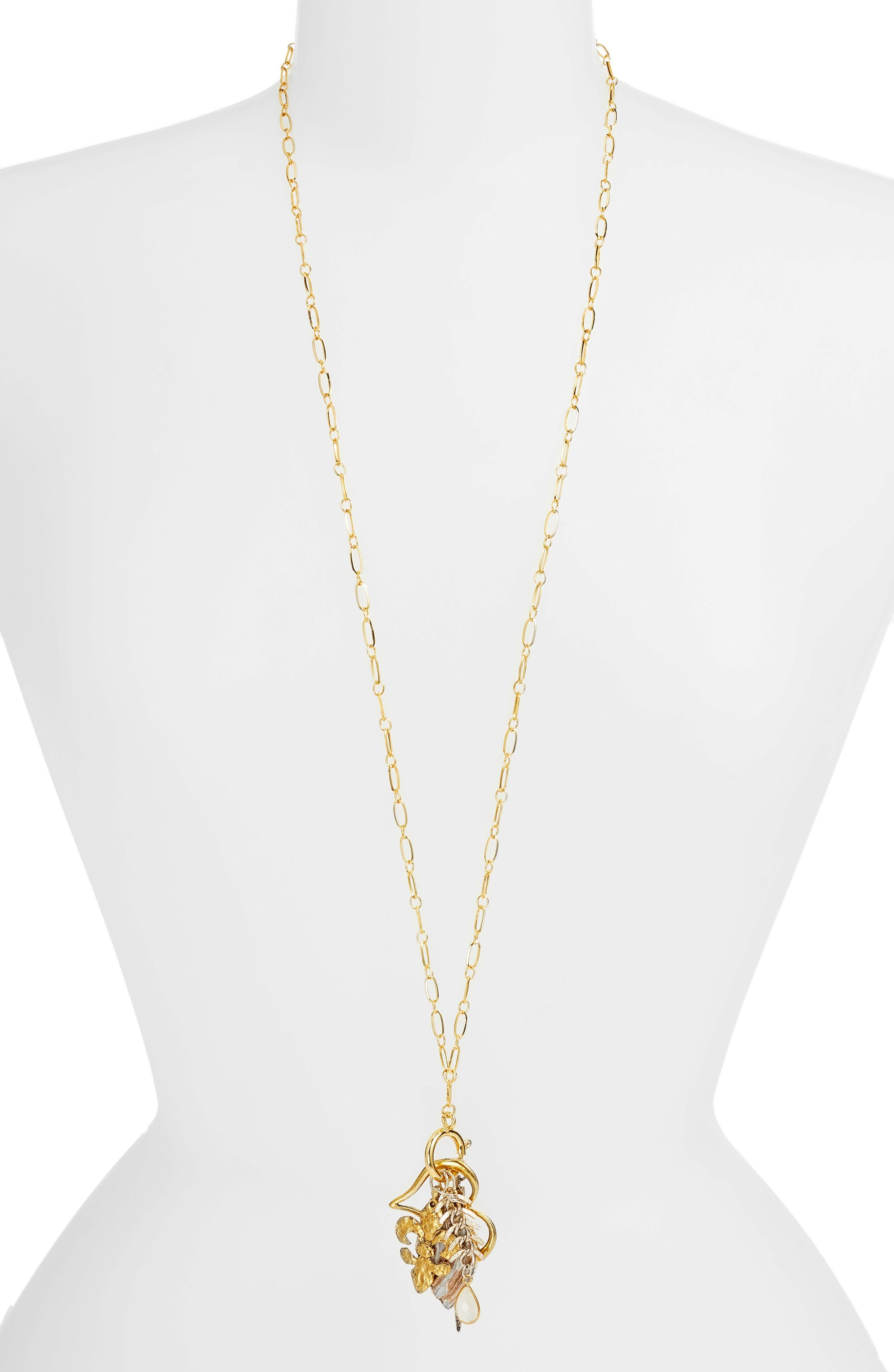 Avalon Charm Necklace,                             Main thumbnail 1, color,                             Gold