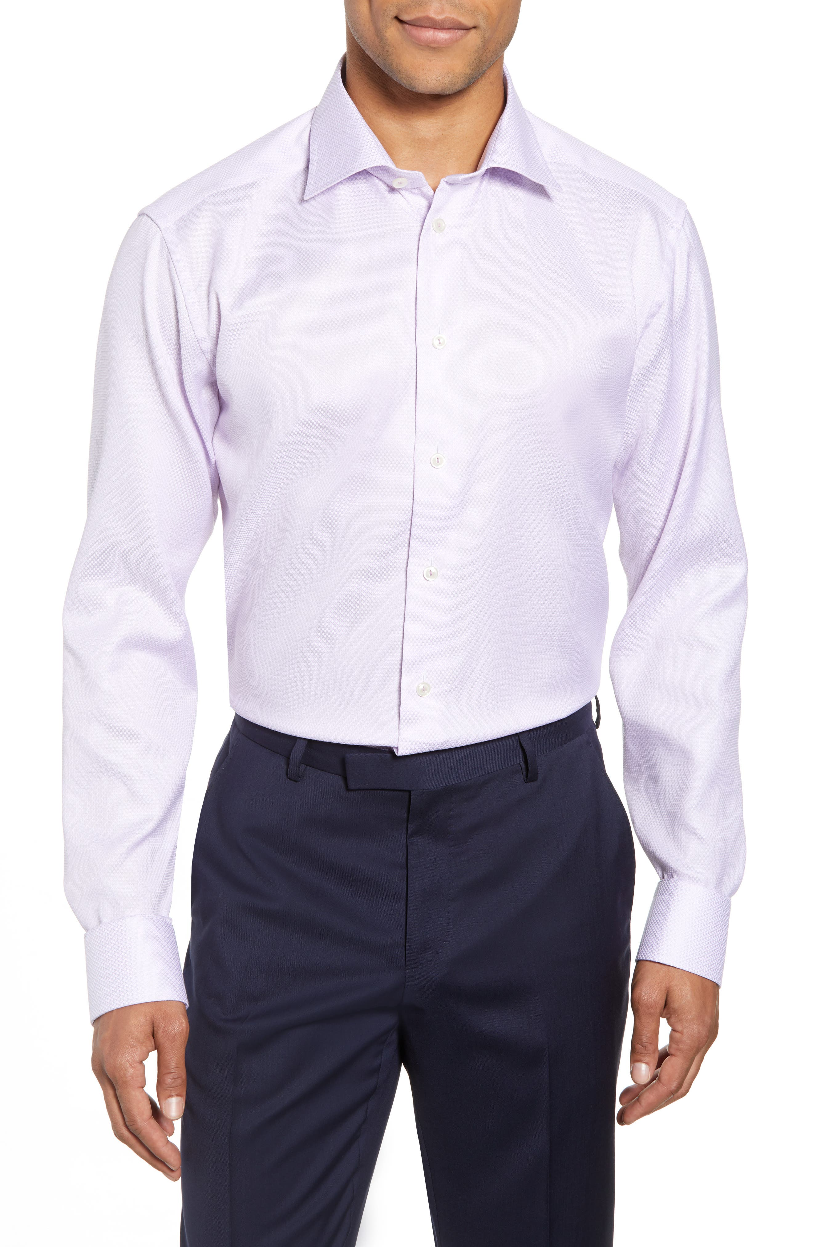 Slim Fit Textured Solid Dress Shirt,                         Main,                         color, Purple