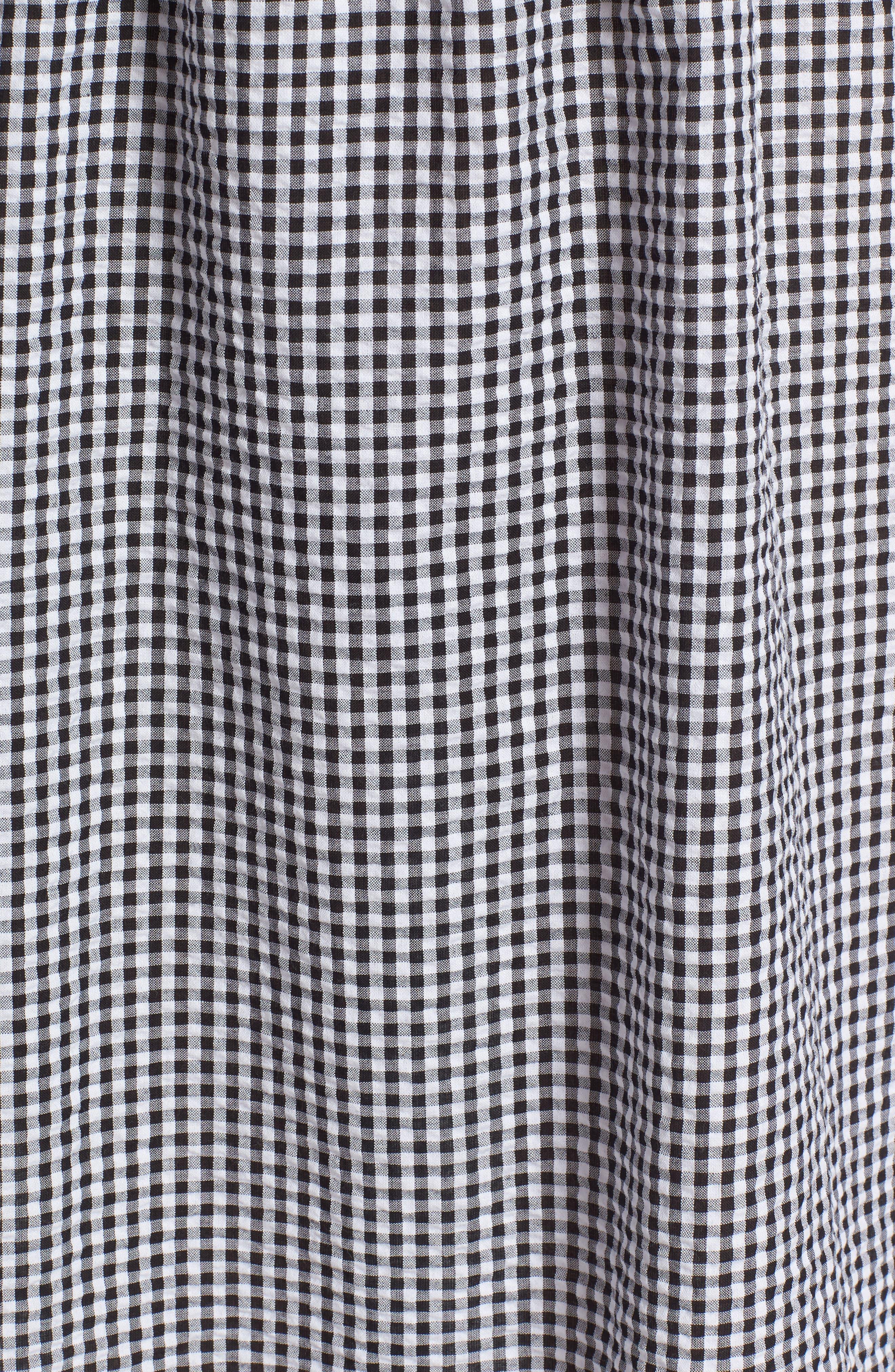 Gingham Off the Shoulder Dress,                             Alternate thumbnail 6, color,                             Black White Gingham