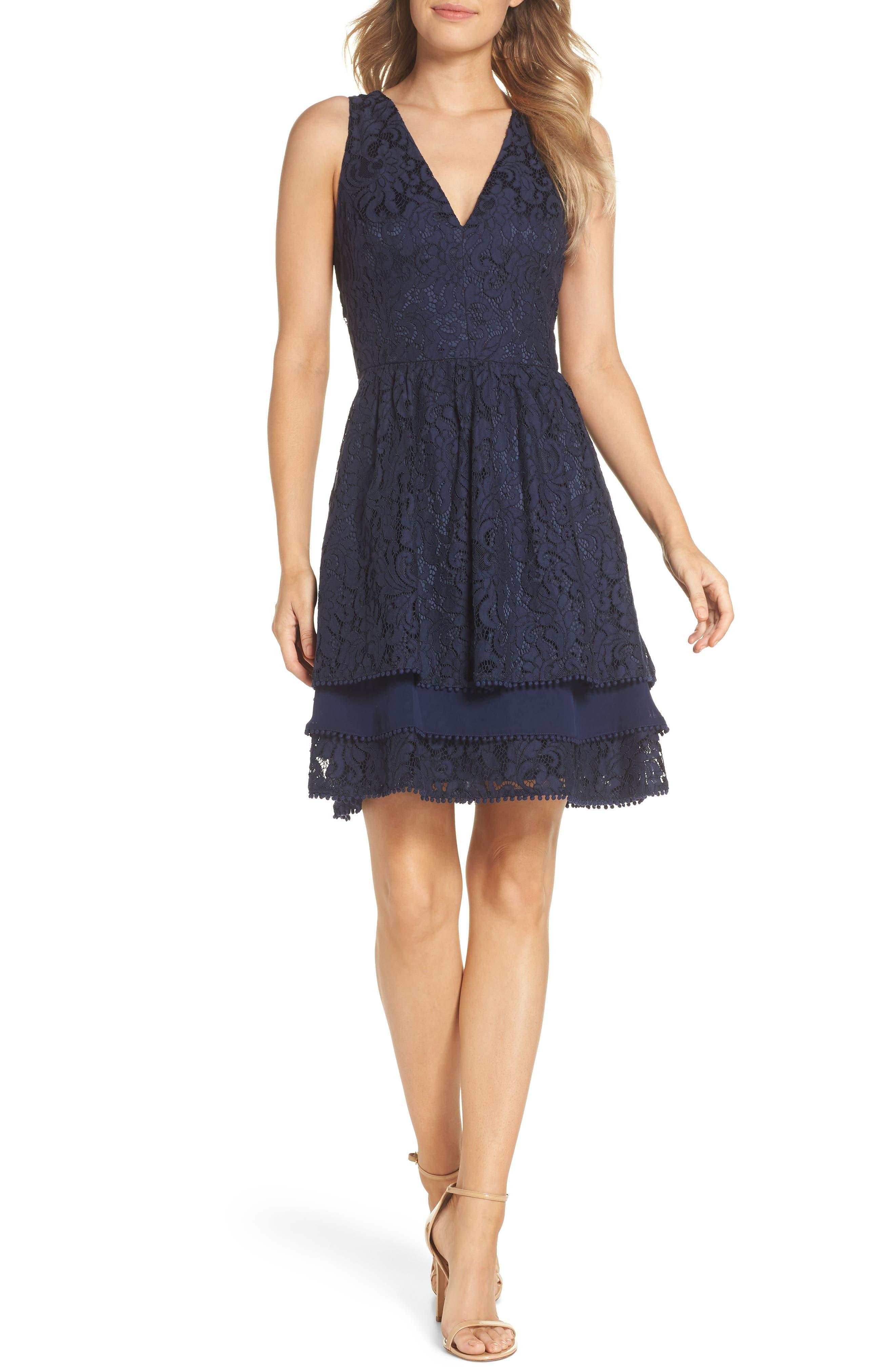 Sleeveless Lace Tiered Dress by Eliza J