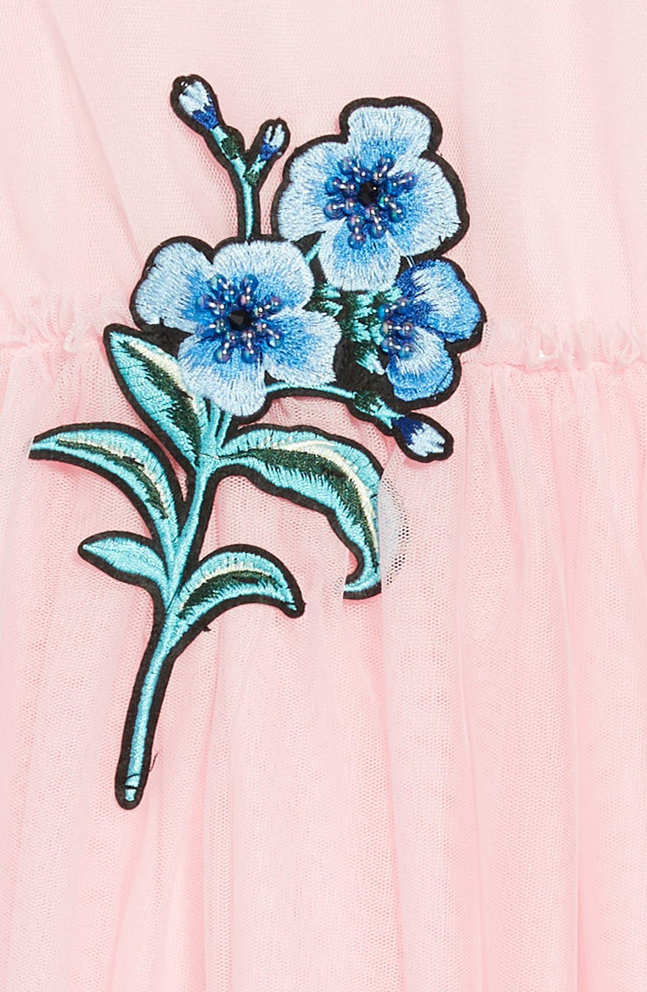 Embellished Tulle Dress,                             Alternate thumbnail 3, color,                             Pink