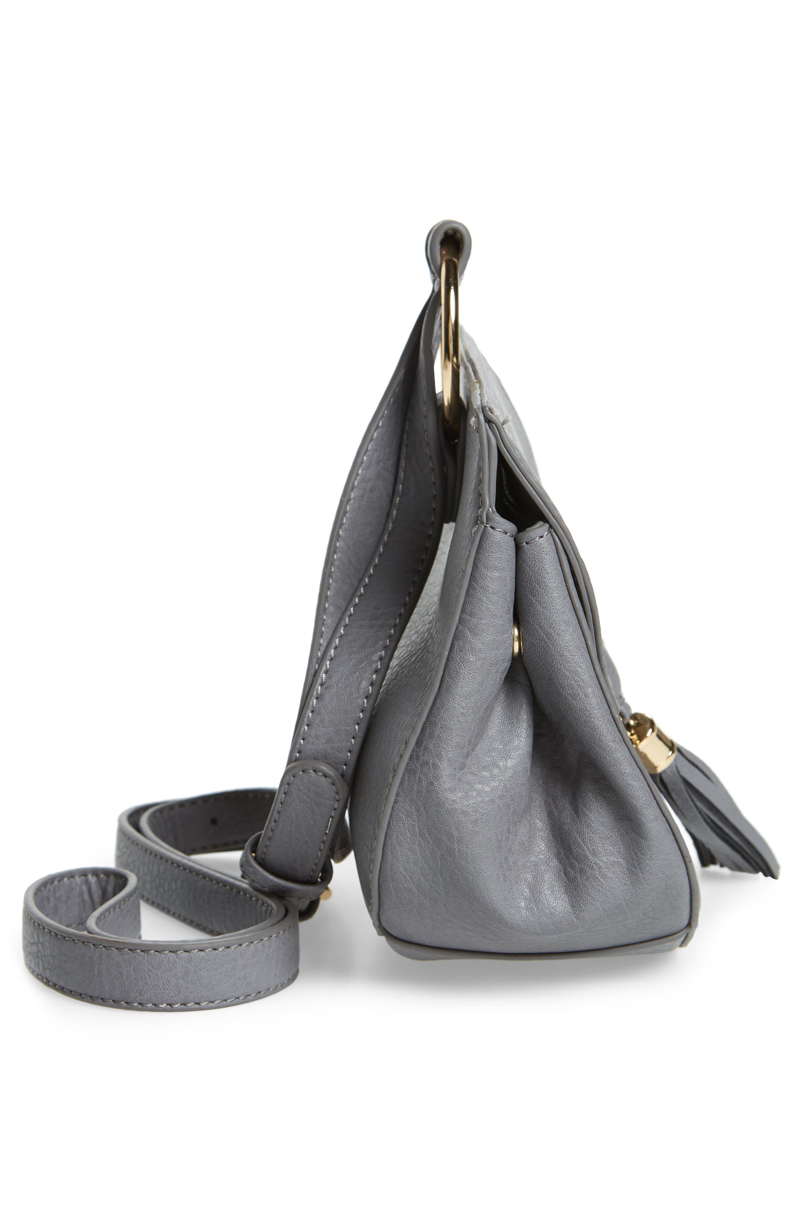 Tassel Faux Leather Crossbody Saddle Bag,                             Alternate thumbnail 5, color,                             Grey