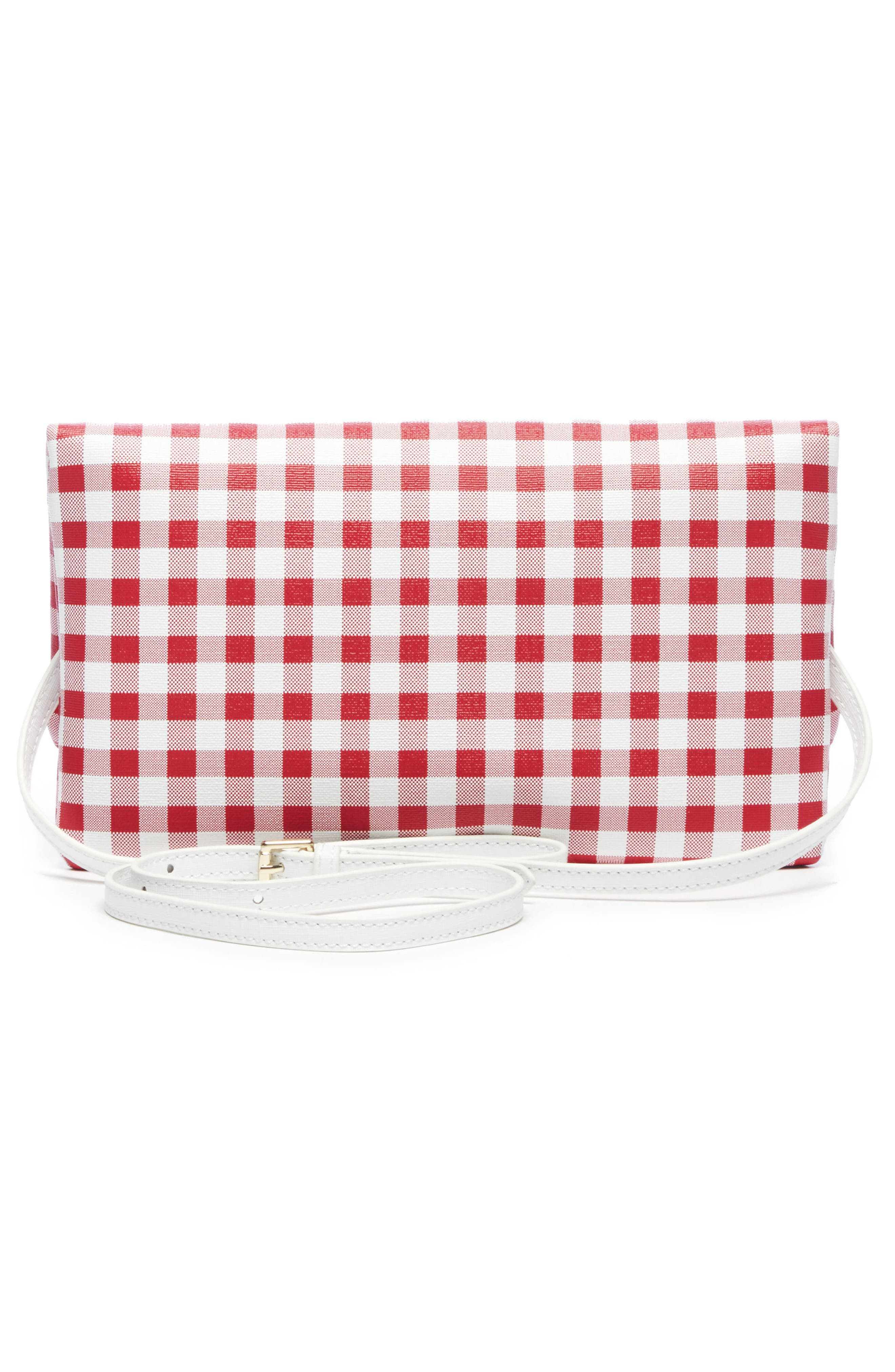 Faux Leather Foldover Clutch,                             Alternate thumbnail 2, color,                             Red/ White