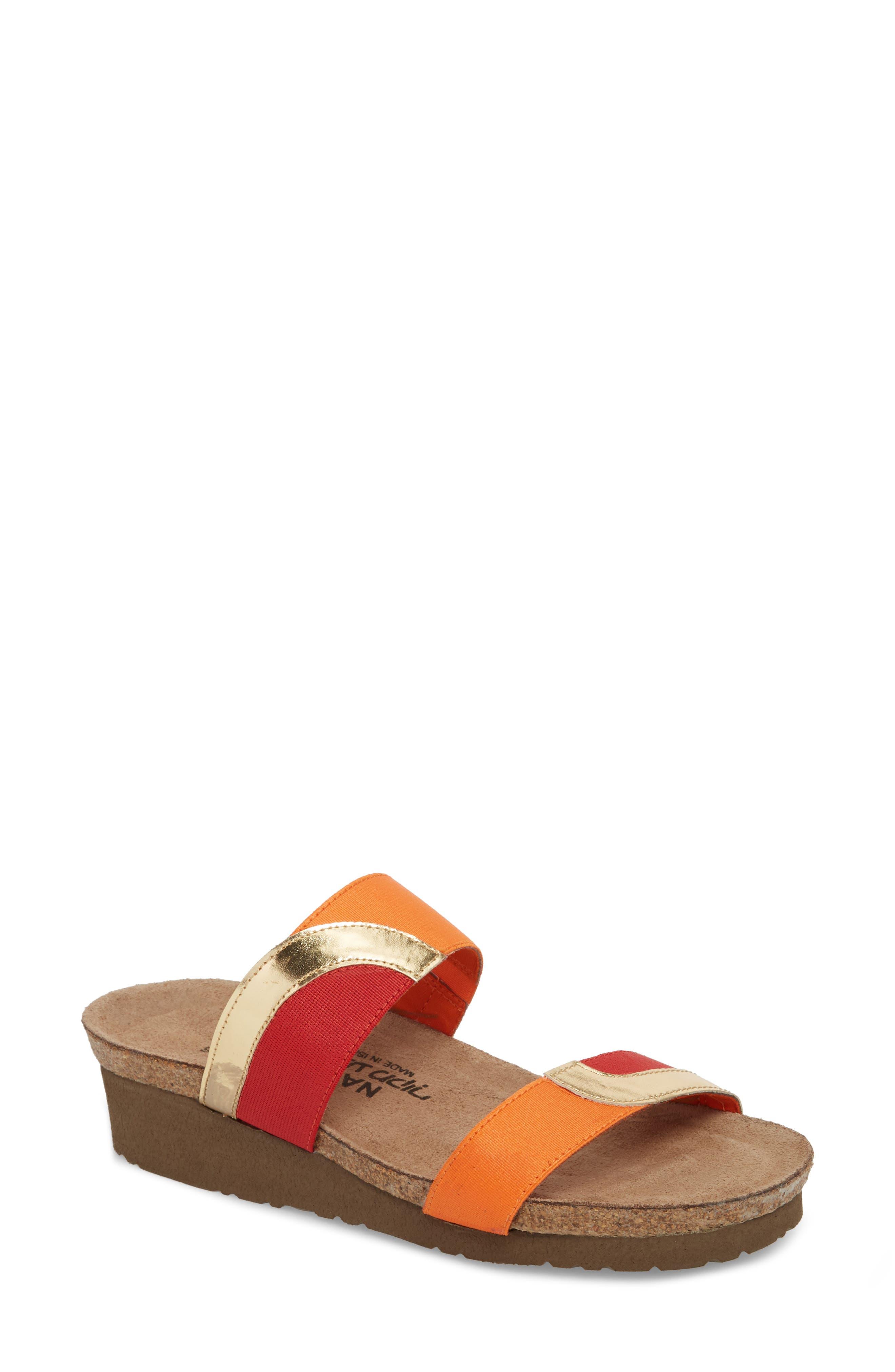 Frankie Slide Sandal,                             Main thumbnail 1, color,                             Red/ Orange/ Gold Leather
