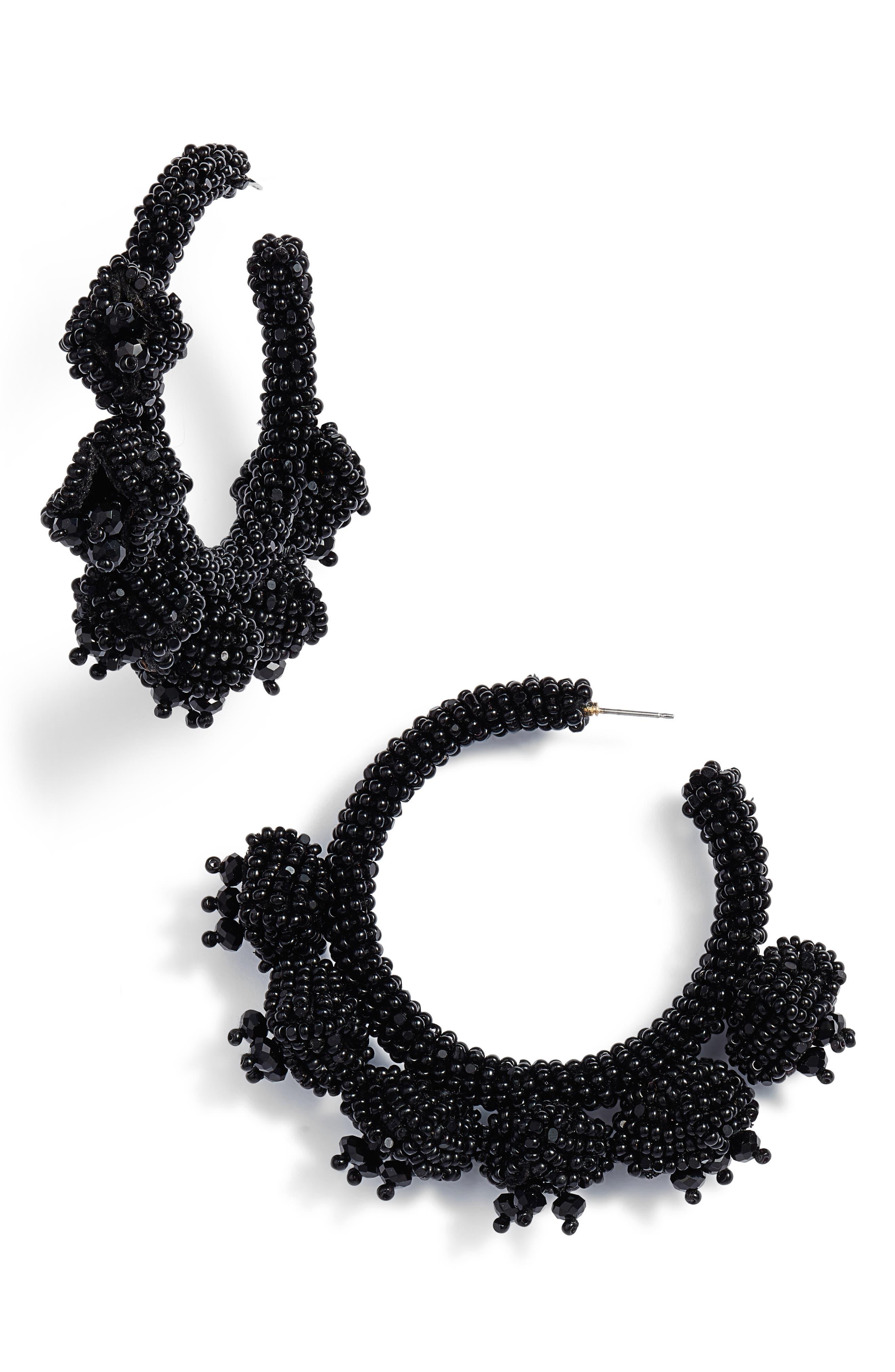 Grape Cluster Hoop Earrings,                             Main thumbnail 1, color,                             Jet