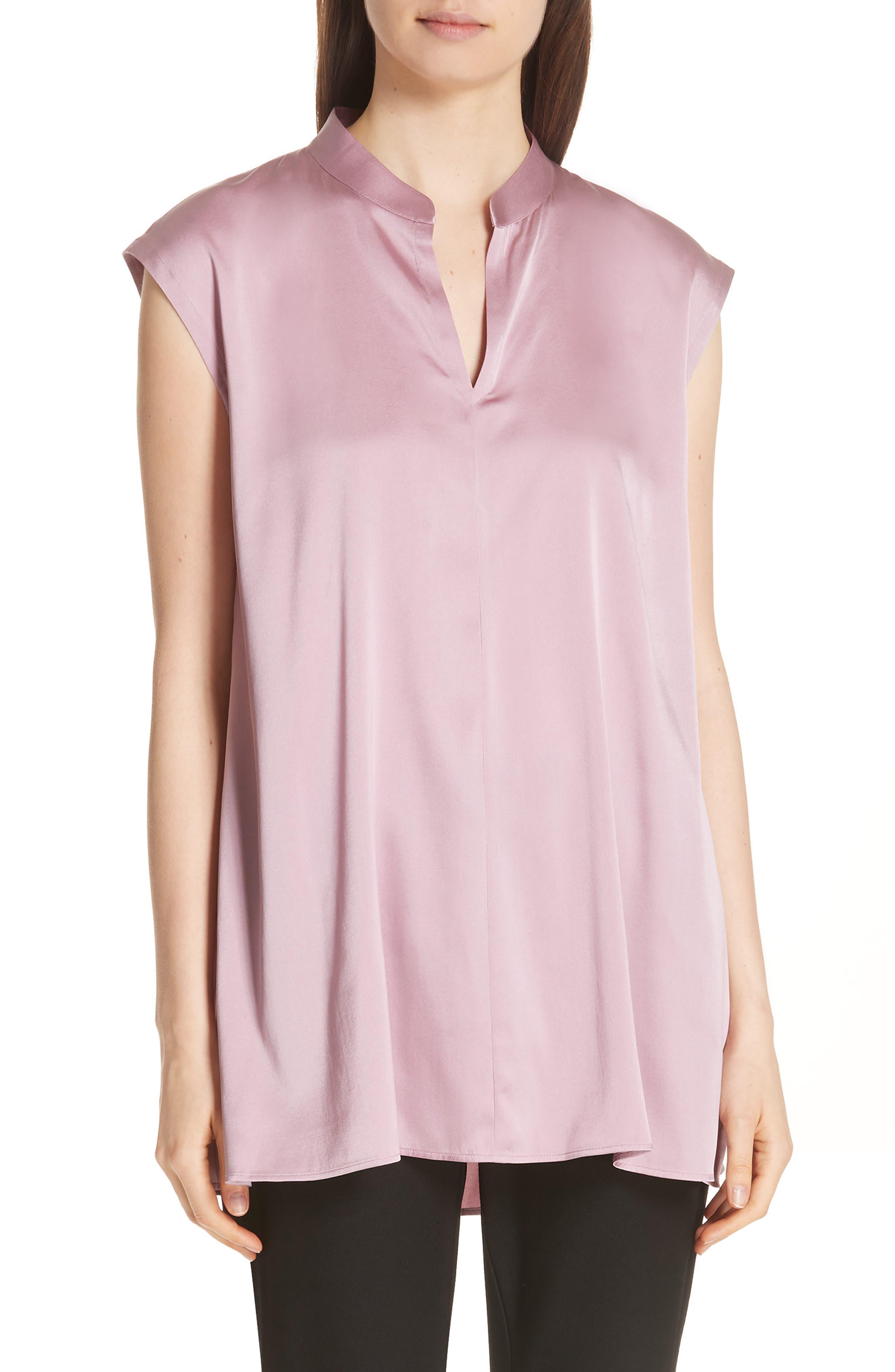 Stretch Silk Top,                         Main,                         color, Rose Quartz