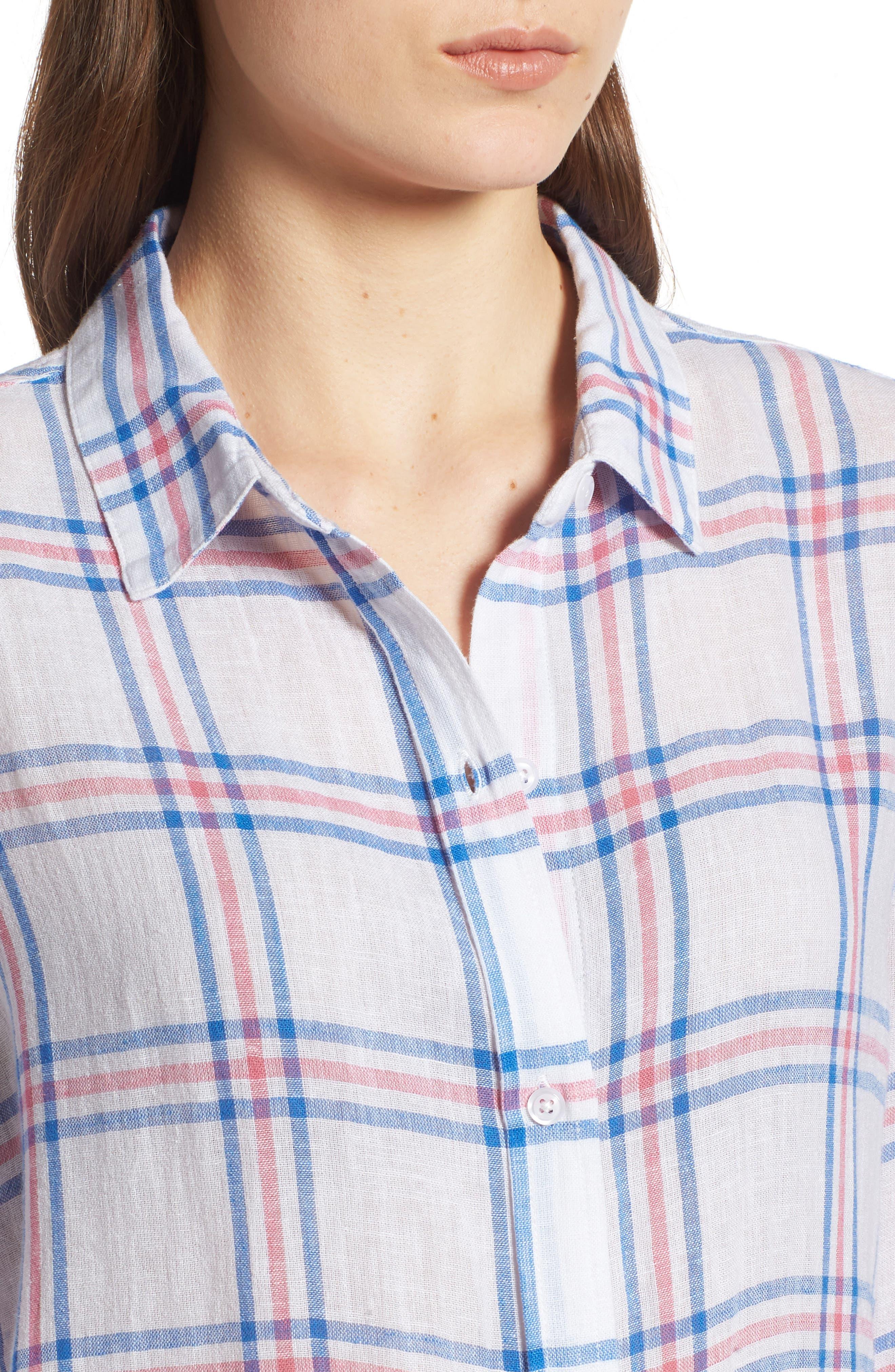 Sydney Stripe Shirt,                             Alternate thumbnail 6, color,                             Raspberry Azure White