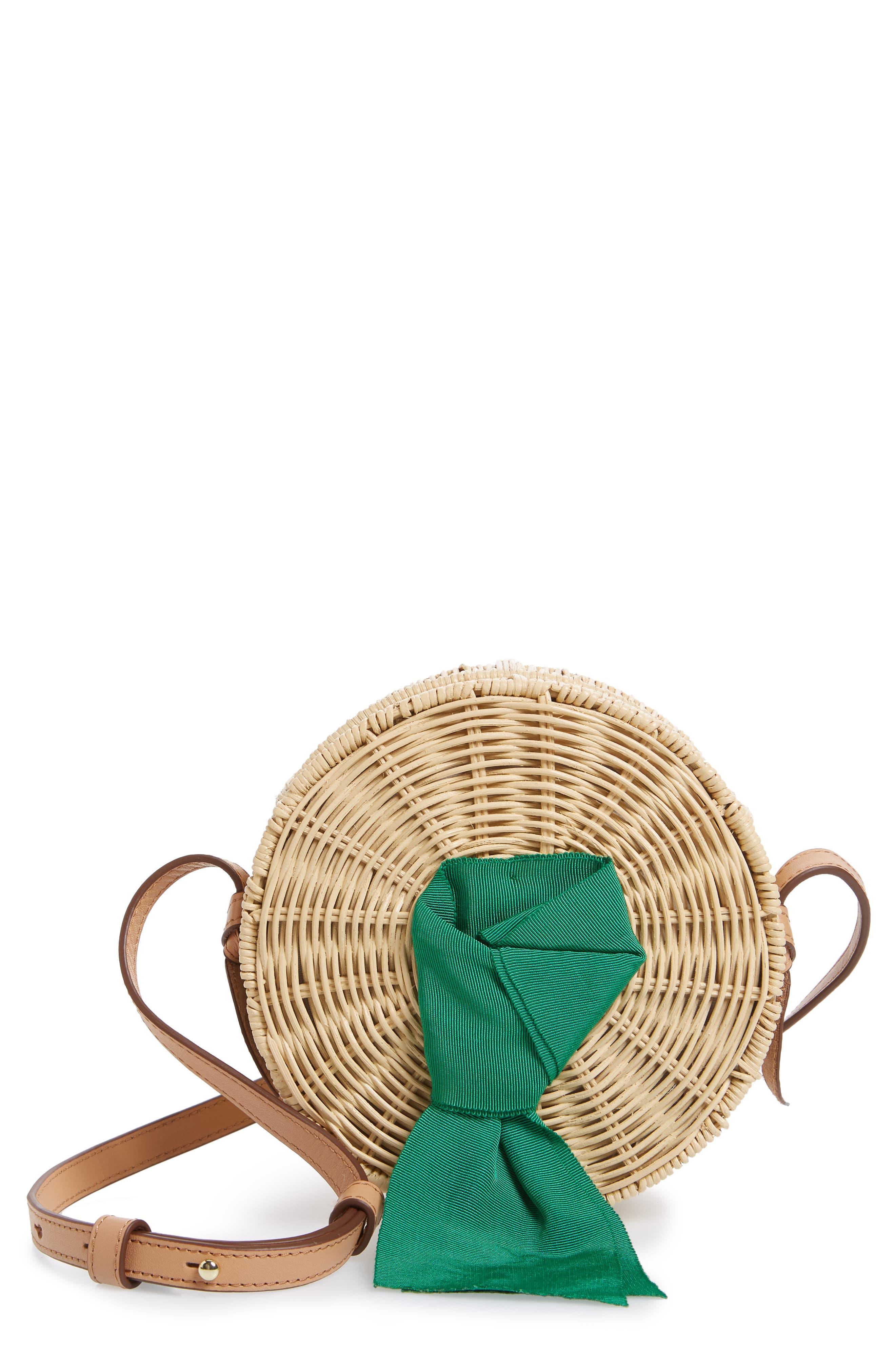 Paige Woven Rattan Crossbody Bag,                         Main,                         color, Palm
