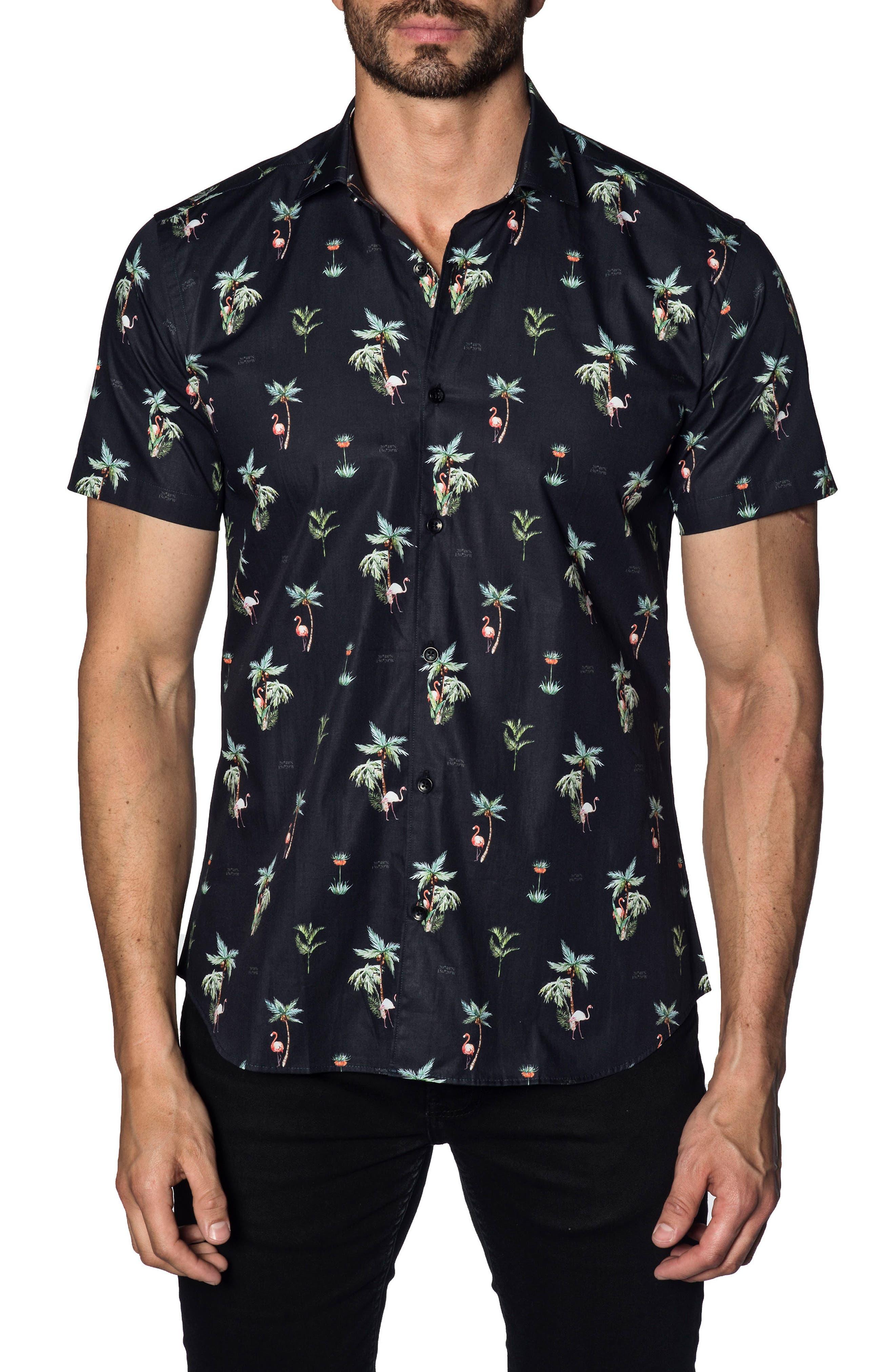 Trim Fit Sport Shirt,                         Main,                         color, Navy Flamingos
