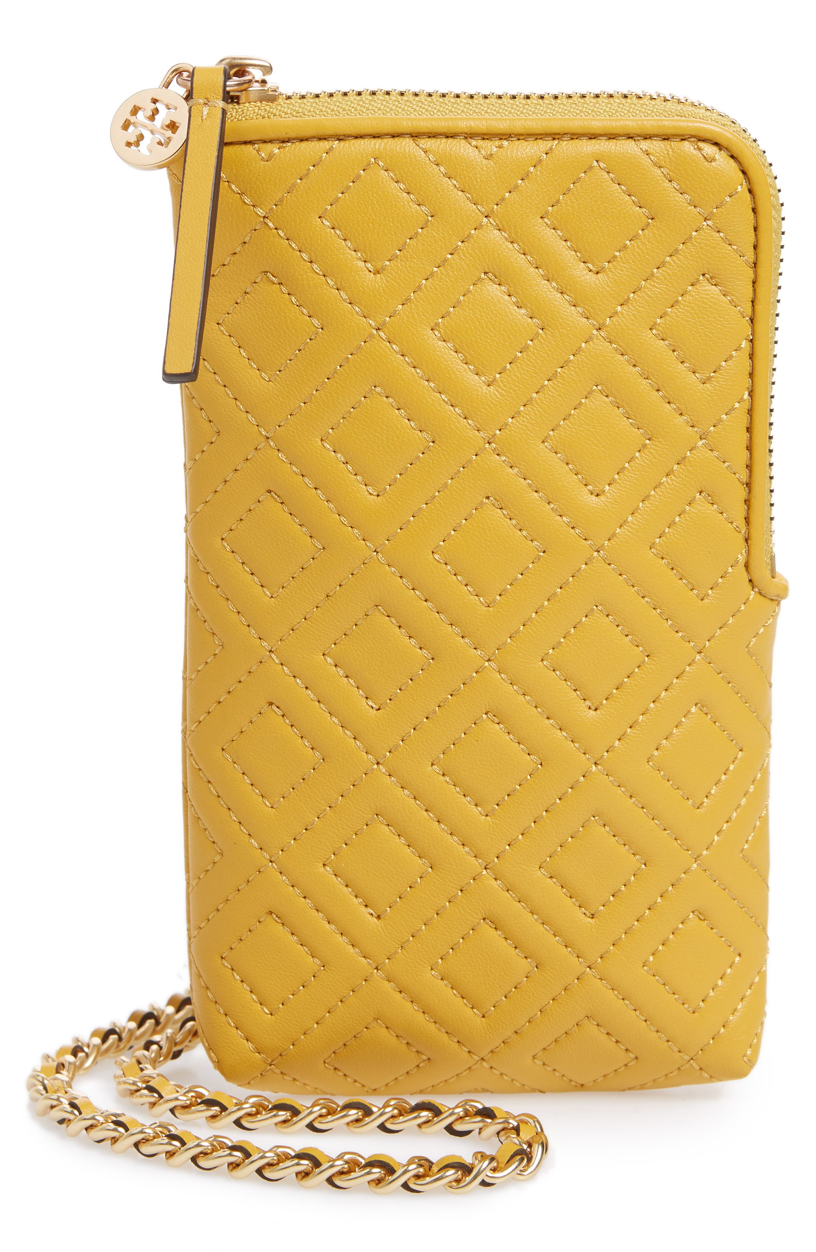 Fleming Lambskin Leather Phone Crossbody Bag,                         Main,                         color, Daylily