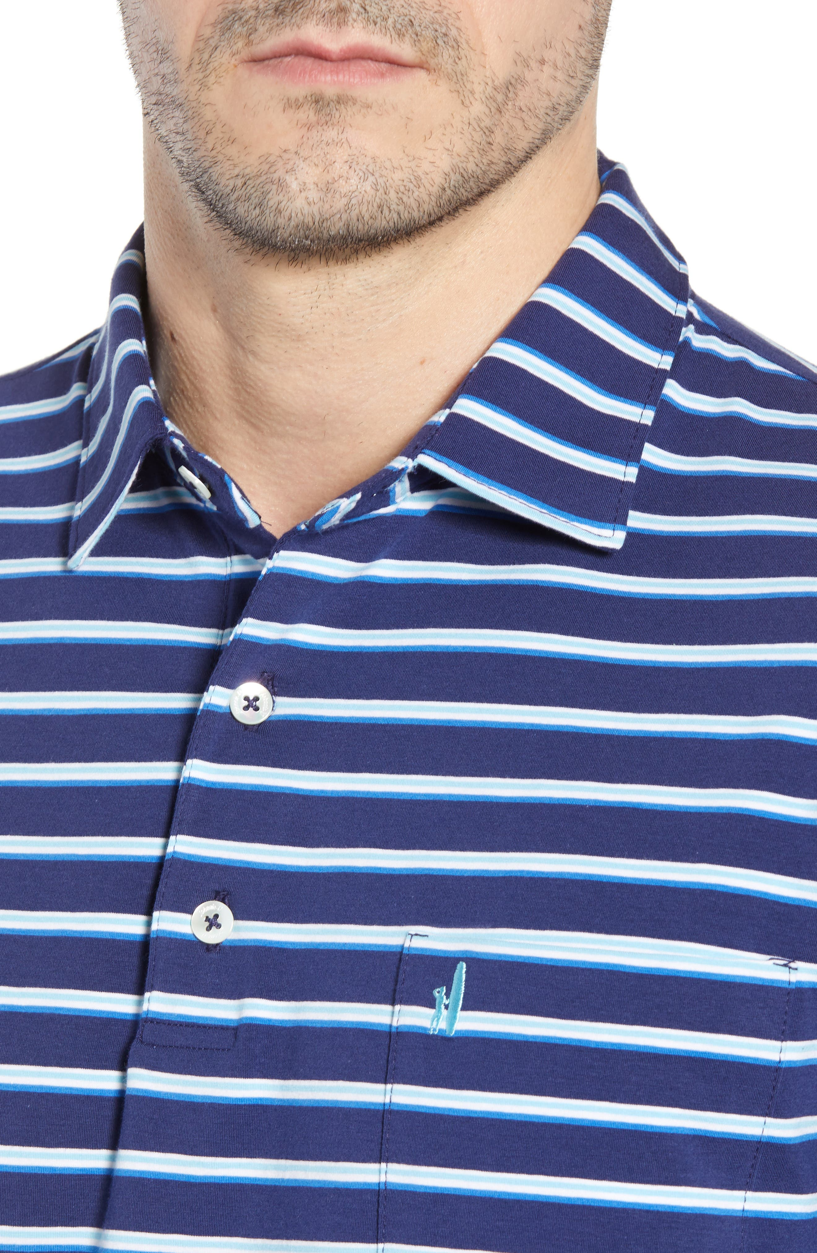 Battle Classic Fit Stripe Stretch Jersey Polo,                             Alternate thumbnail 4, color,                             Twilight