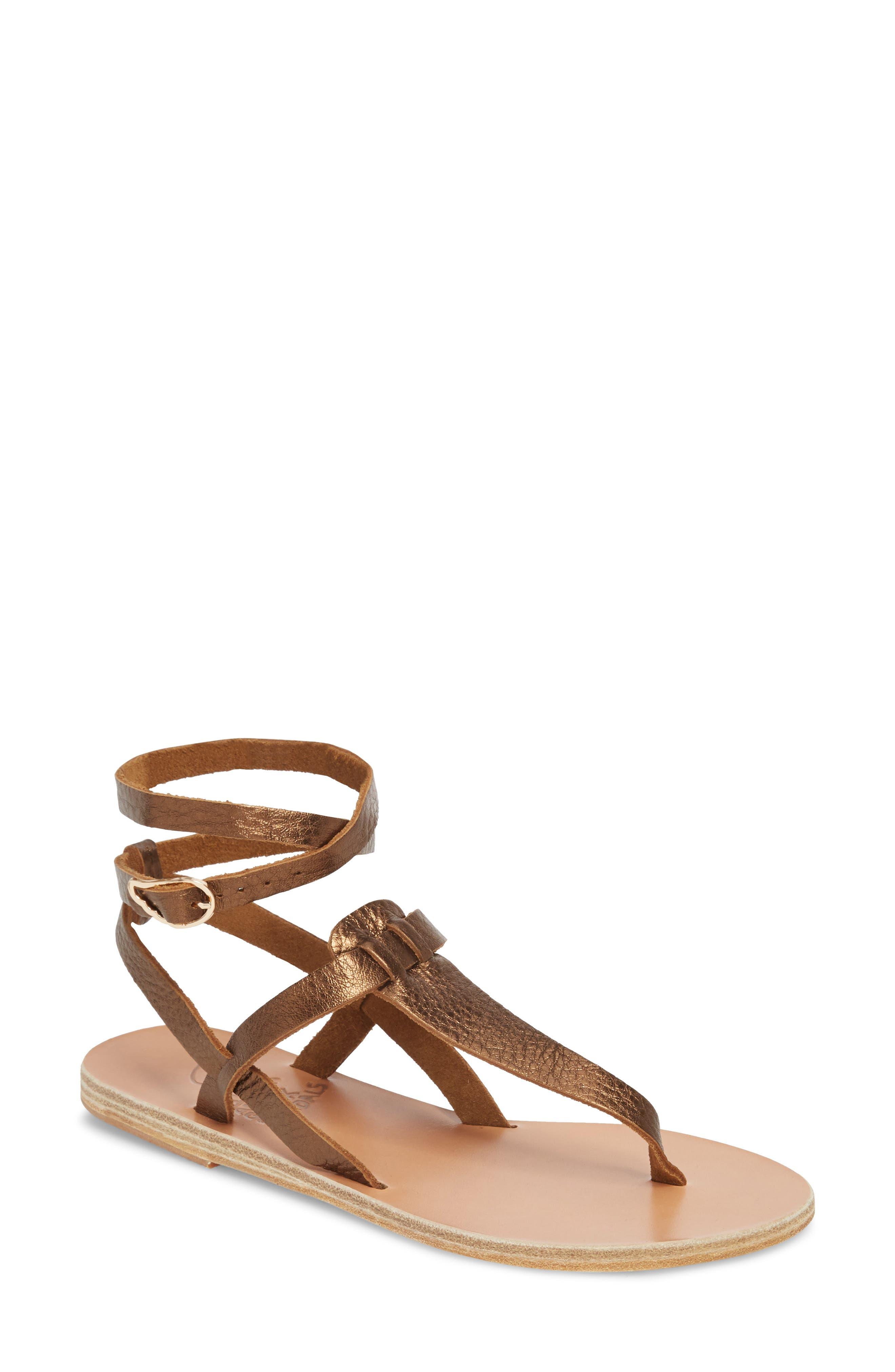 Estia Ankle Wrap Sandal,                             Main thumbnail 1, color,                             Bronze/ Cocco