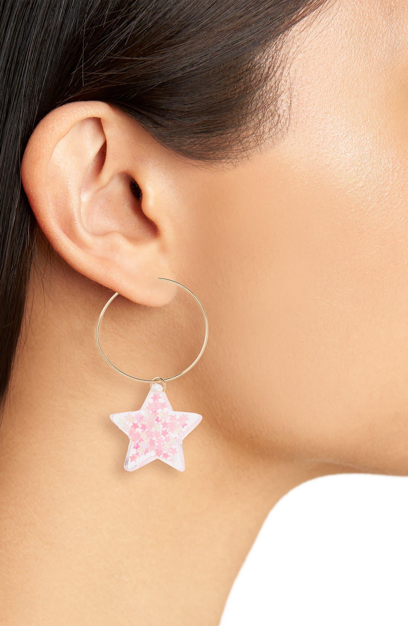 Small Glitter Star Hoop Earrings,                             Alternate thumbnail 2, color,                             Pink