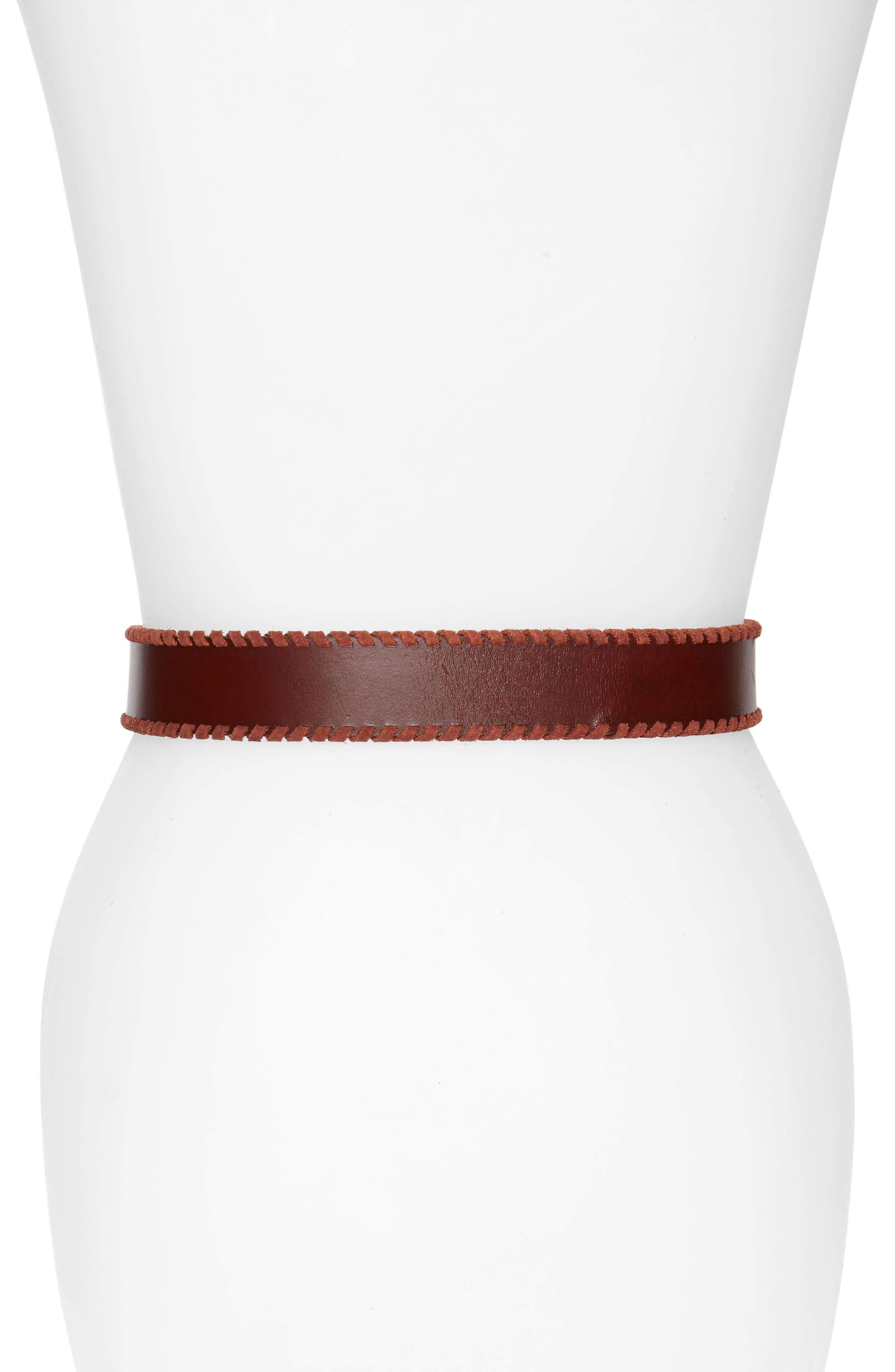 Layla Whipstitch Leather Belt,                             Alternate thumbnail 2, color,                             Luggage / Nickel