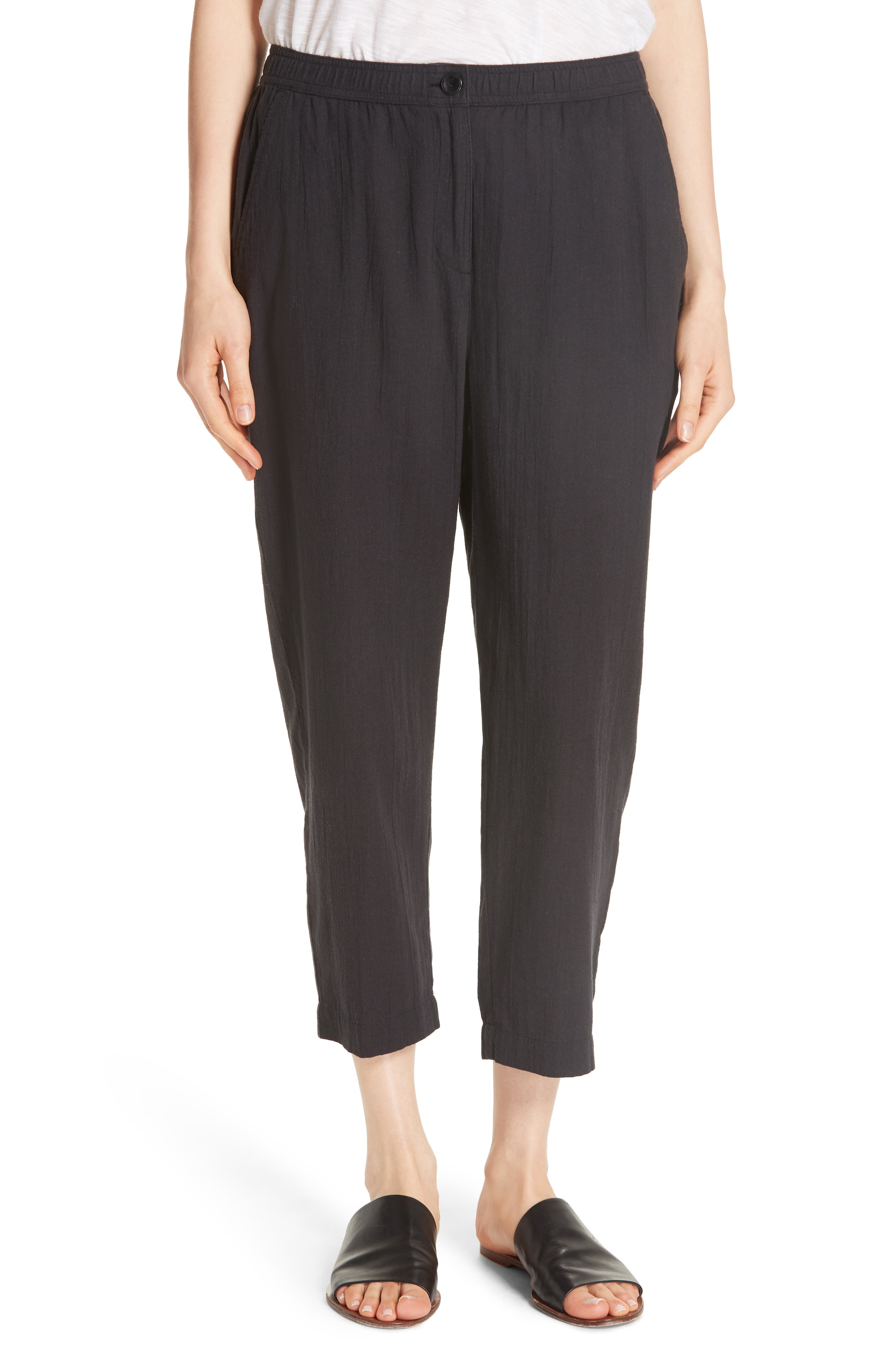 Tapered Cropped Pants,                             Main thumbnail 1, color,                             Black